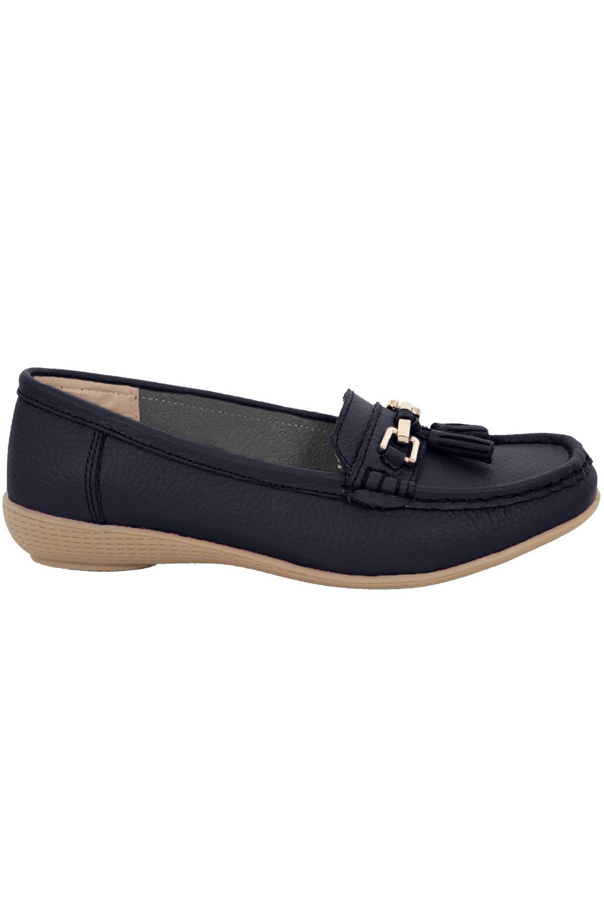 Damen Slipper Leder bequem Mokassins flach mit Quasten niedriger Absatz Schuhe