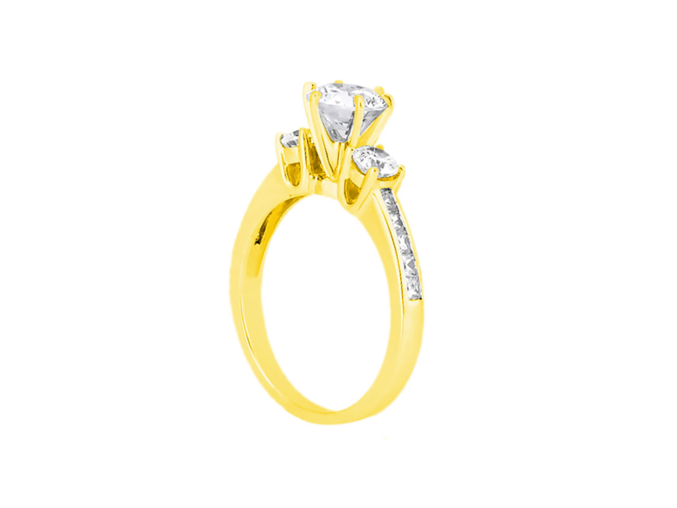 1-10-Quilates-Redondo-Princesa-Anillo-de-Compromiso-Diamante-Corte-10-Oro-Kl-I1 miniatura 11