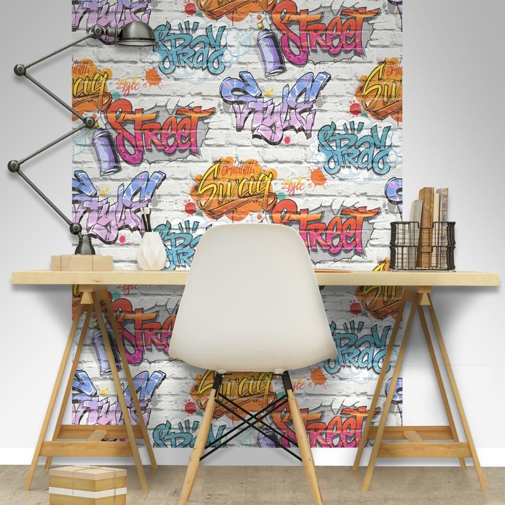 Muriva grafiti estampado papel pintado para ni os ladrillo - Papel pintado para ninos ...
