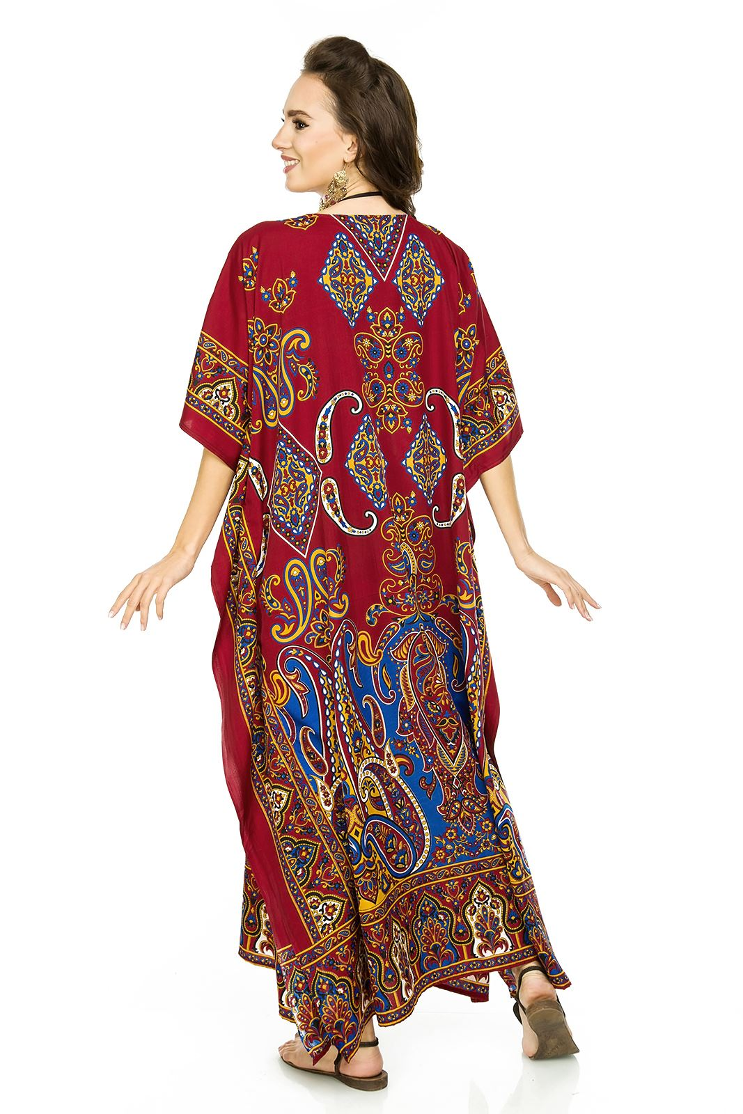 Nuovo Da Donna Oversize Maxi Kimono Kaftan Tunica Abito Caftano Taglia Unica