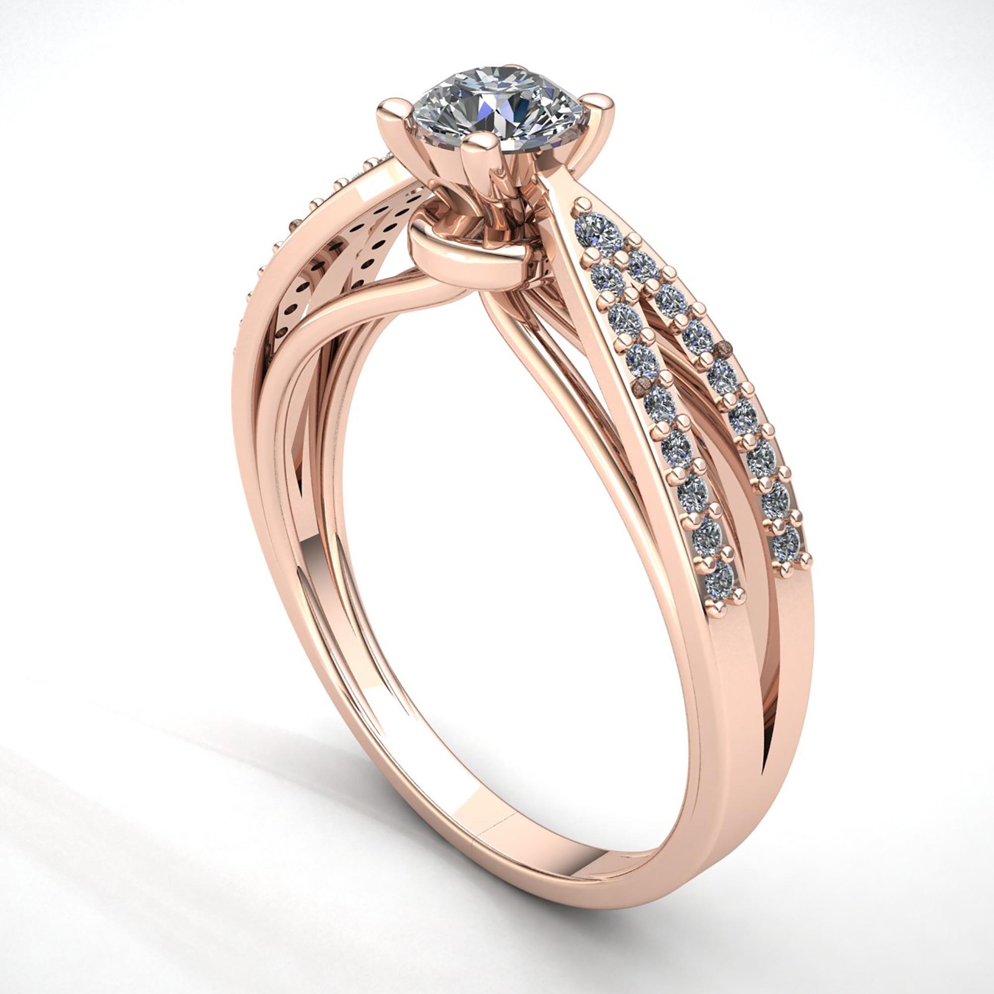 Natural-0-5carat-Diamante-Redondo-Mujer-de-Aro-Anillo-Solitario-Compromiso-18k miniatura 7