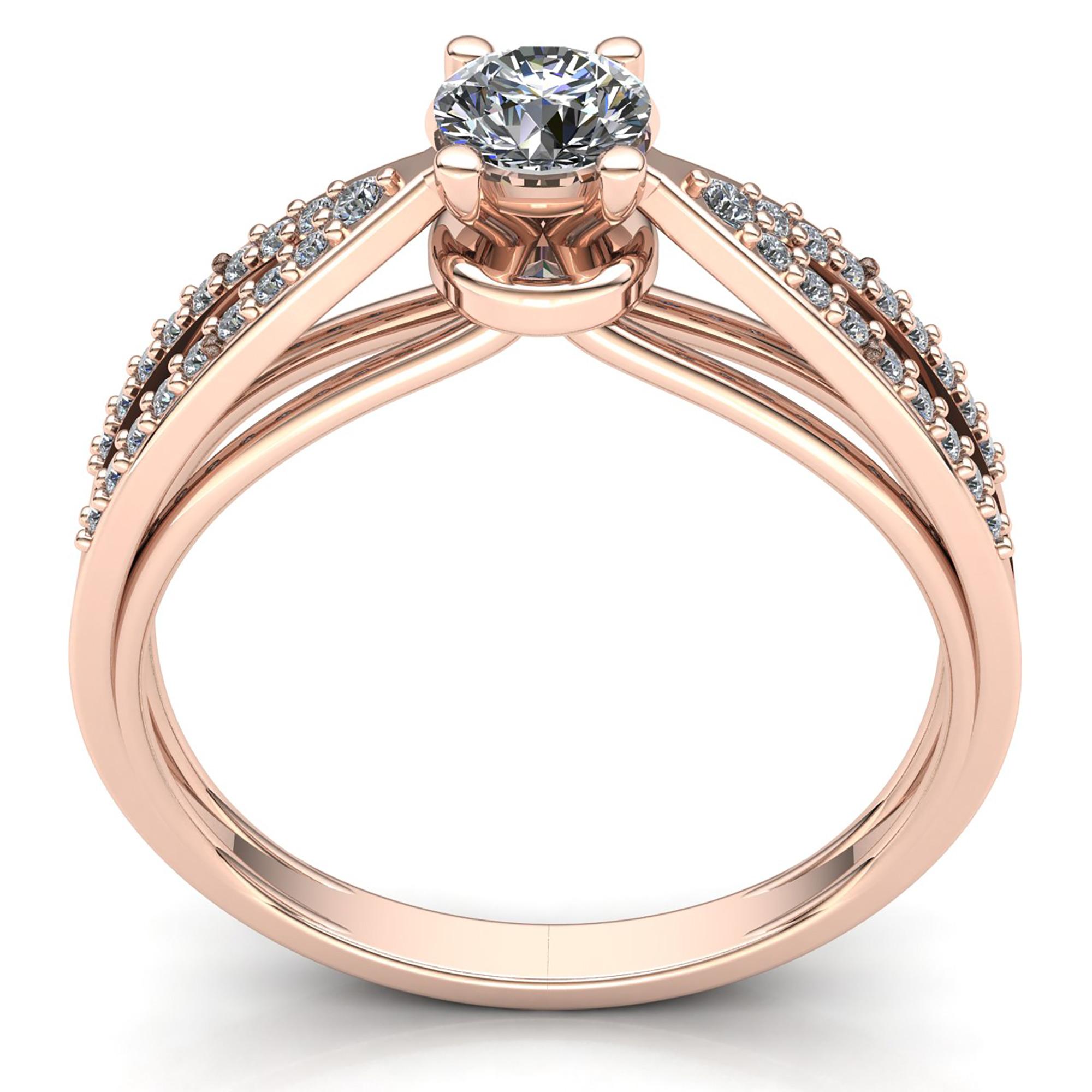 Natural-0-5carat-Diamante-Redondo-Mujer-de-Aro-Anillo-Solitario-Compromiso-18k miniatura 8