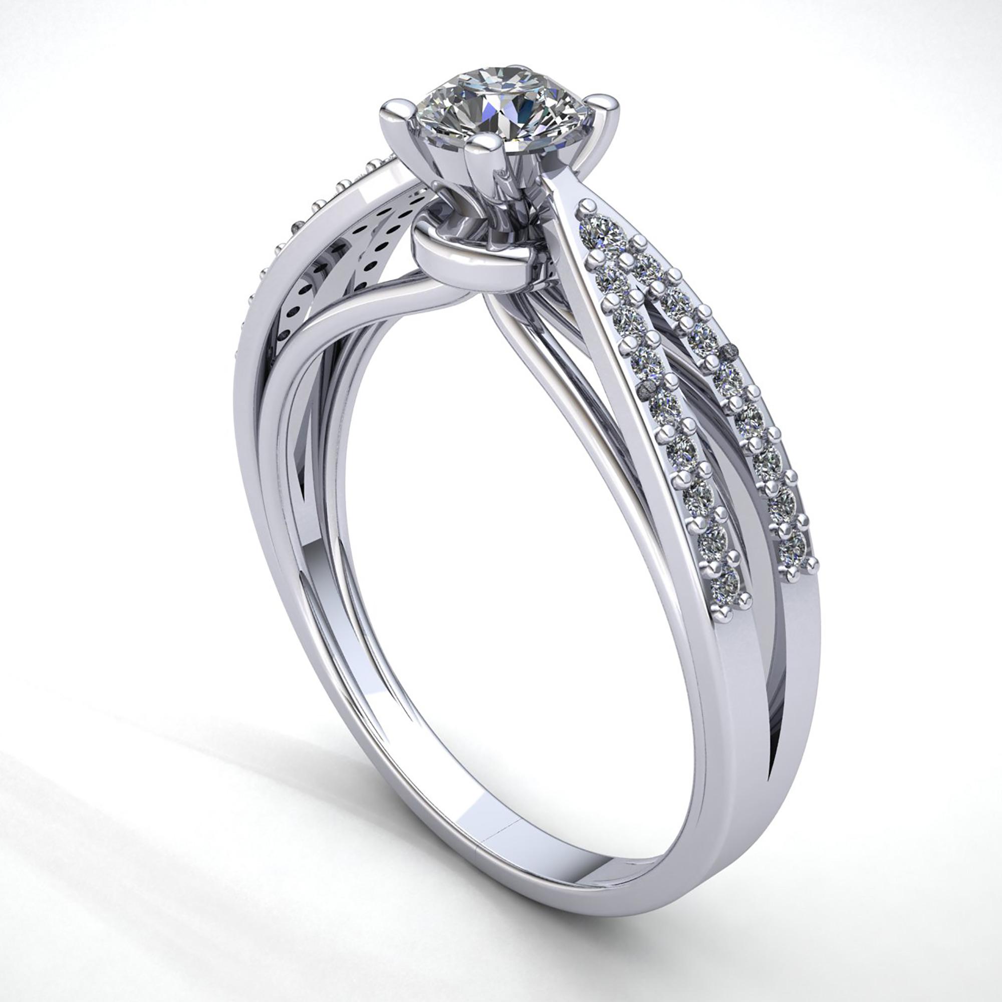 Natural-0-5carat-Diamante-Redondo-Mujer-de-Aro-Anillo-Solitario-Compromiso-18k miniatura 10