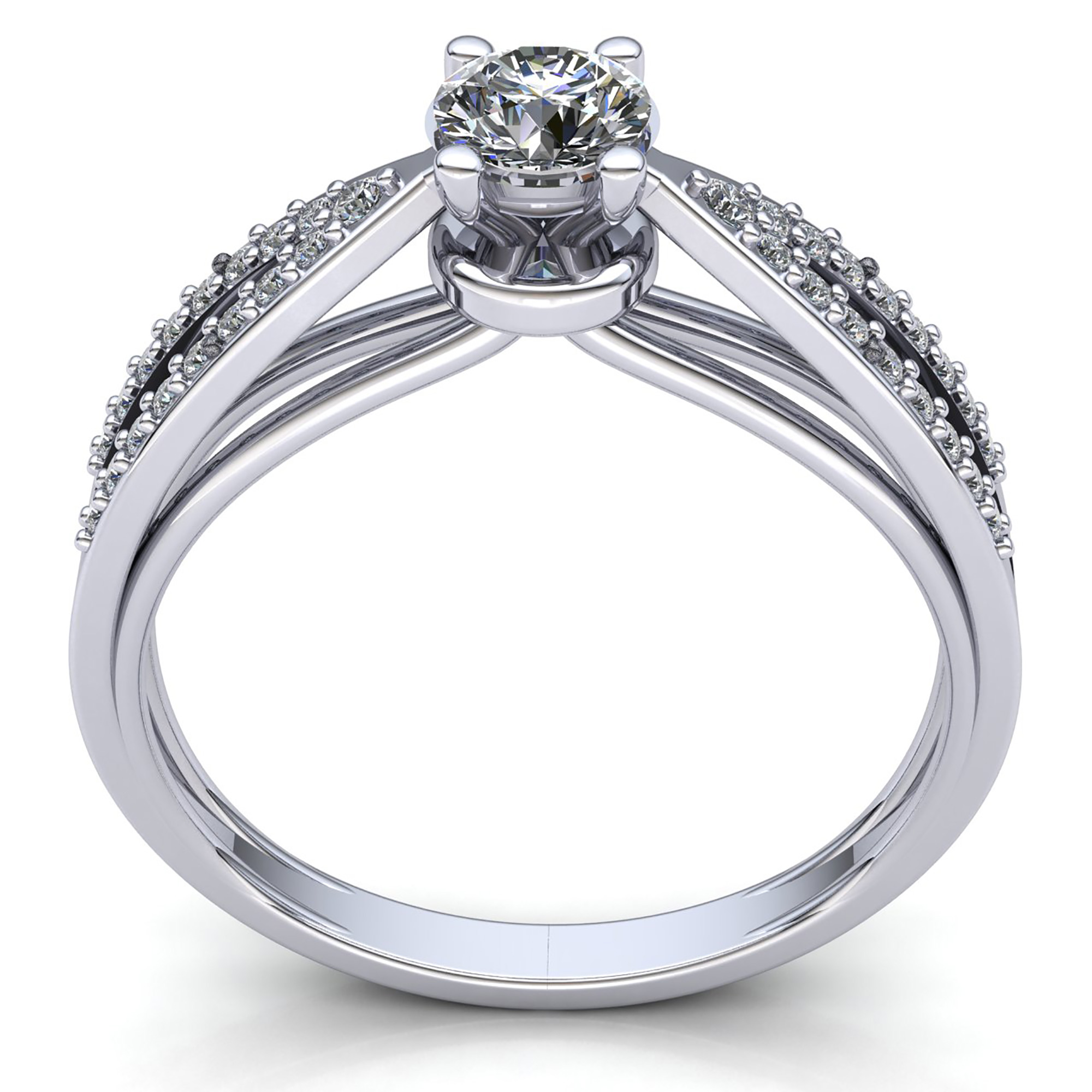 Natural-0-5carat-Diamante-Redondo-Mujer-de-Aro-Anillo-Solitario-Compromiso-18k miniatura 11