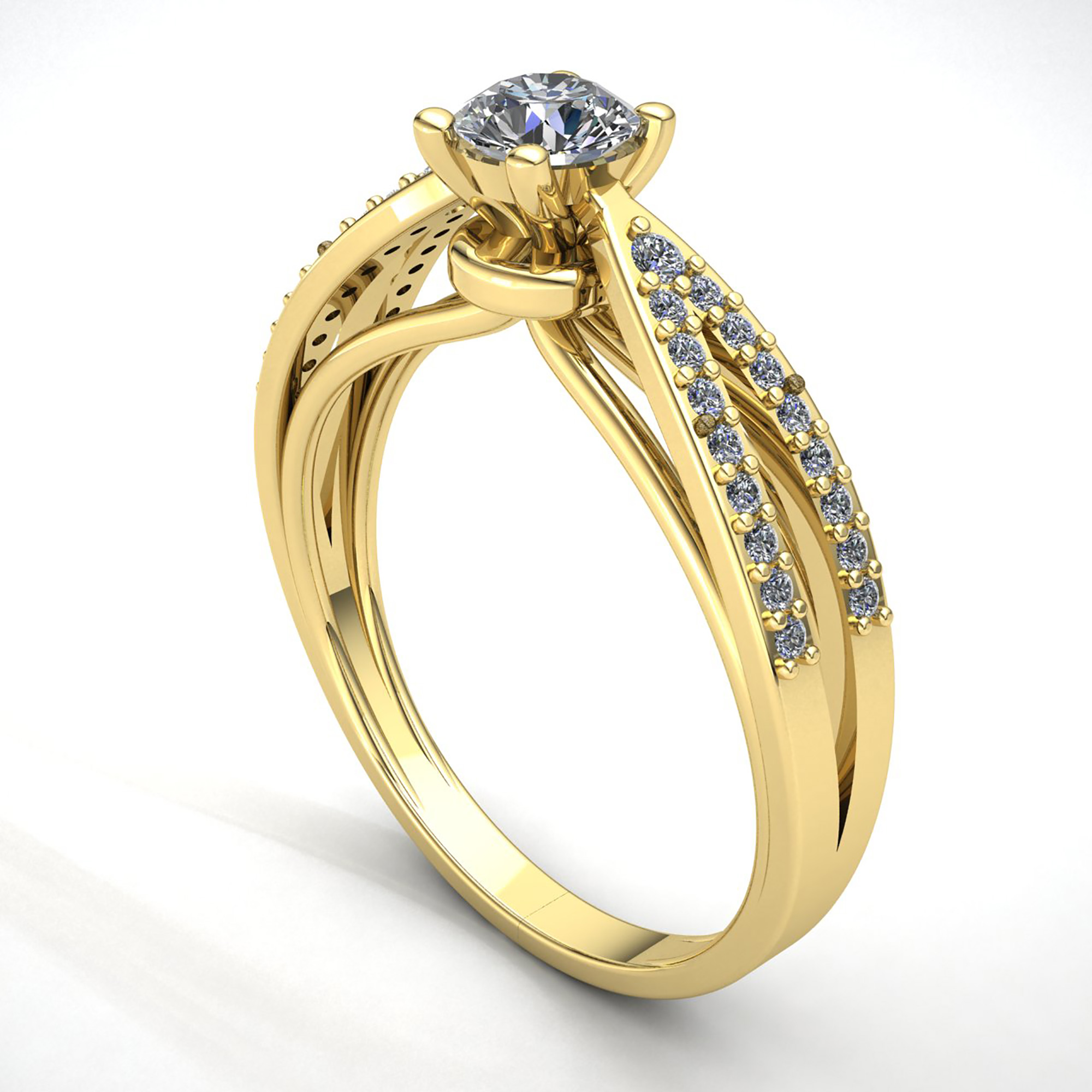 Natural-0-5carat-Diamante-Redondo-Mujer-de-Aro-Anillo-Solitario-Compromiso-18k miniatura 13