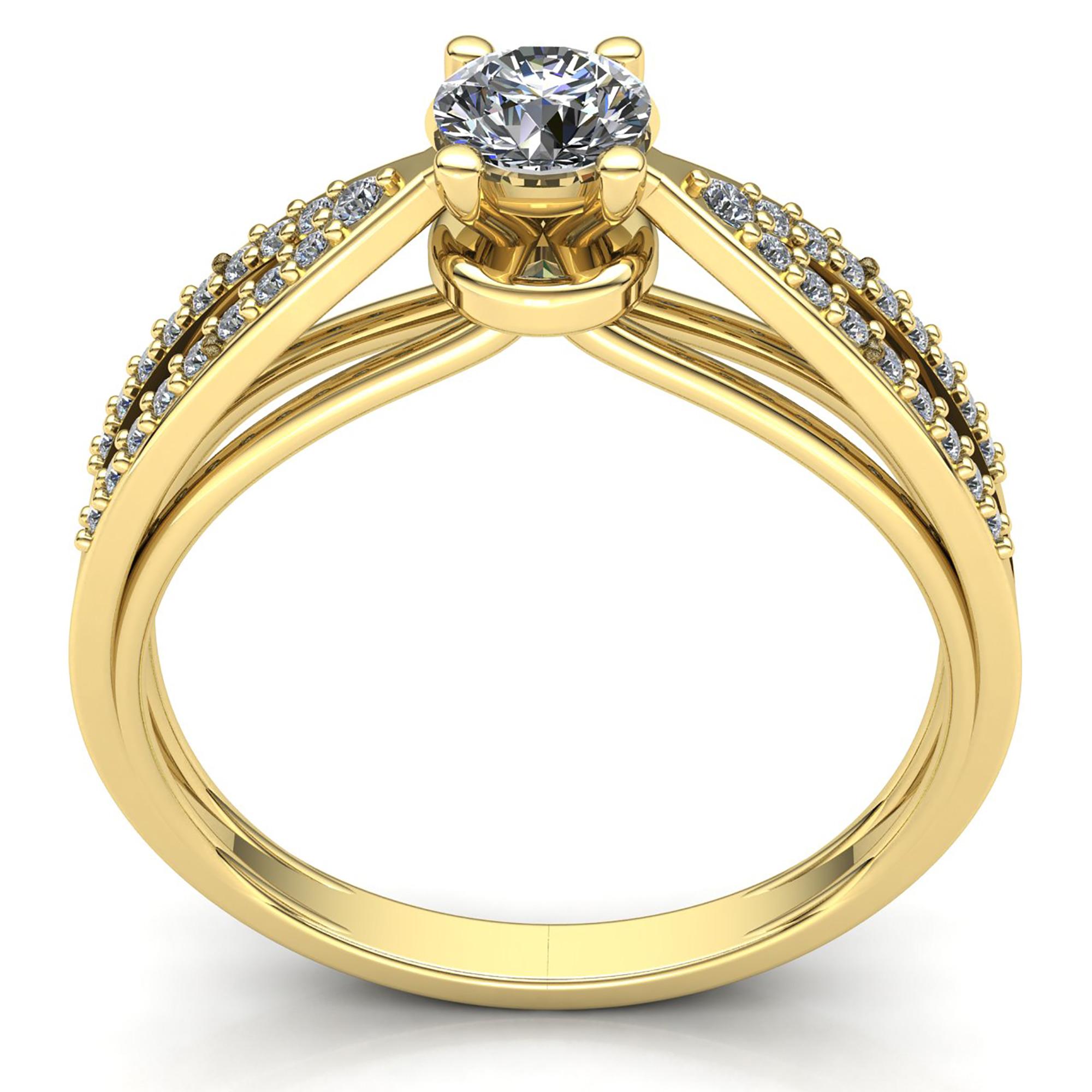 Natural-0-5carat-Diamante-Redondo-Mujer-de-Aro-Anillo-Solitario-Compromiso-18k miniatura 14