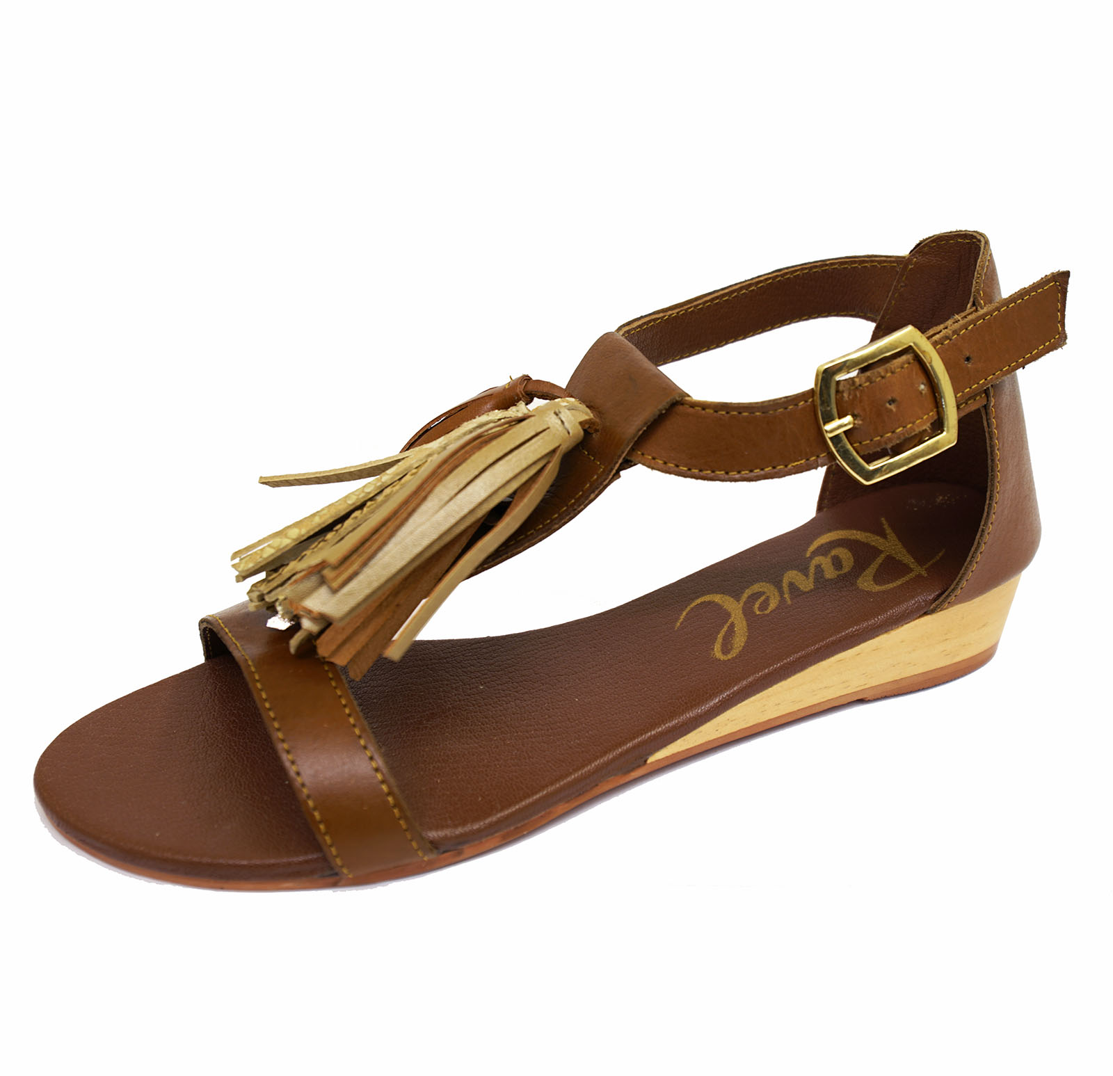 Donna Ravel ASTORIA basse pelle marrone sandali da infilare con Cinturino Scarpe