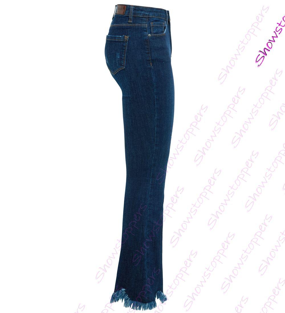 456b6215f092 femmes Slim Fit Jean brut ourlet évasé bootcut taille 6 8 10 12 14 ...