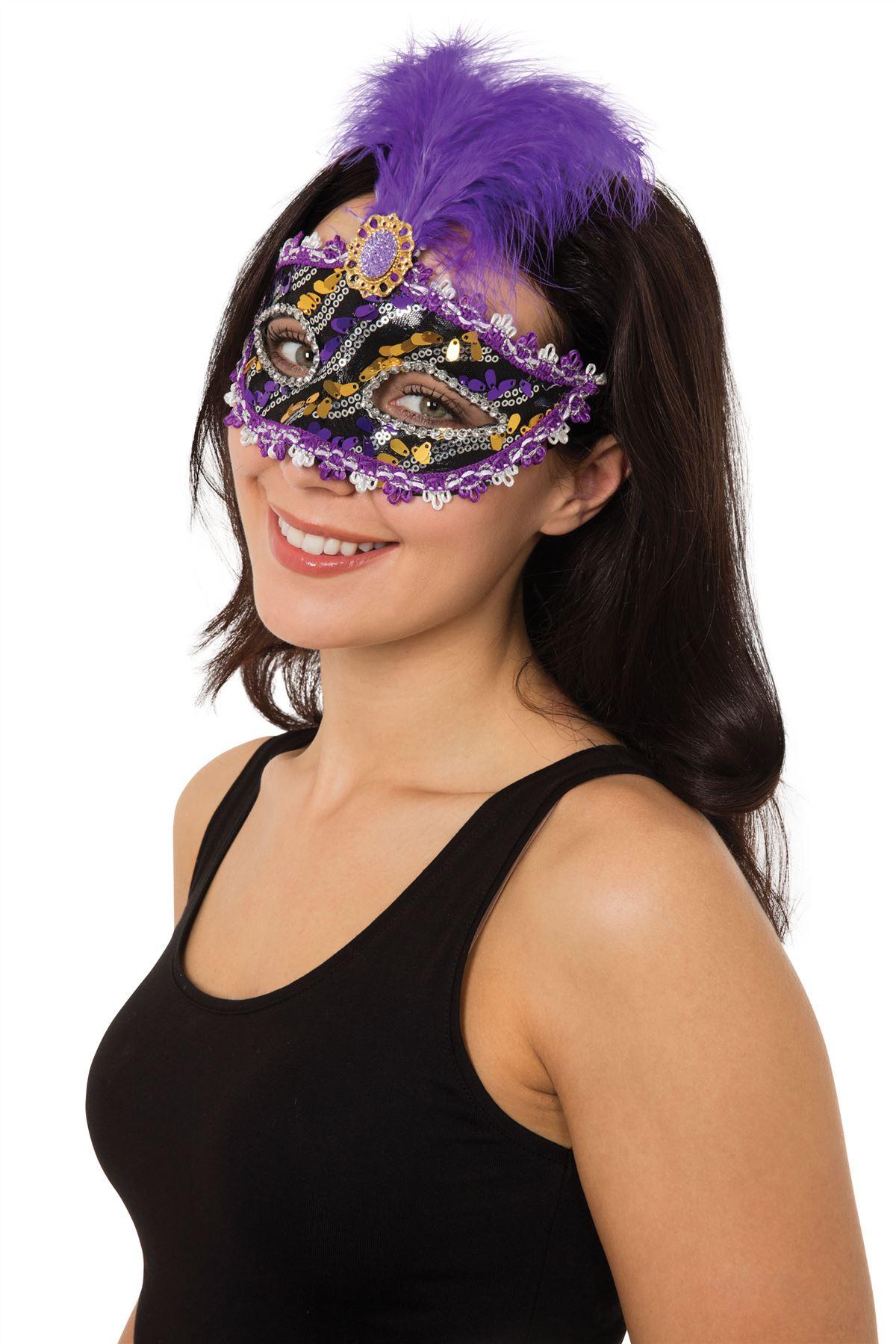 damen maskenball kost m kost m halloween feder augenmaske augen maske ebay. Black Bedroom Furniture Sets. Home Design Ideas
