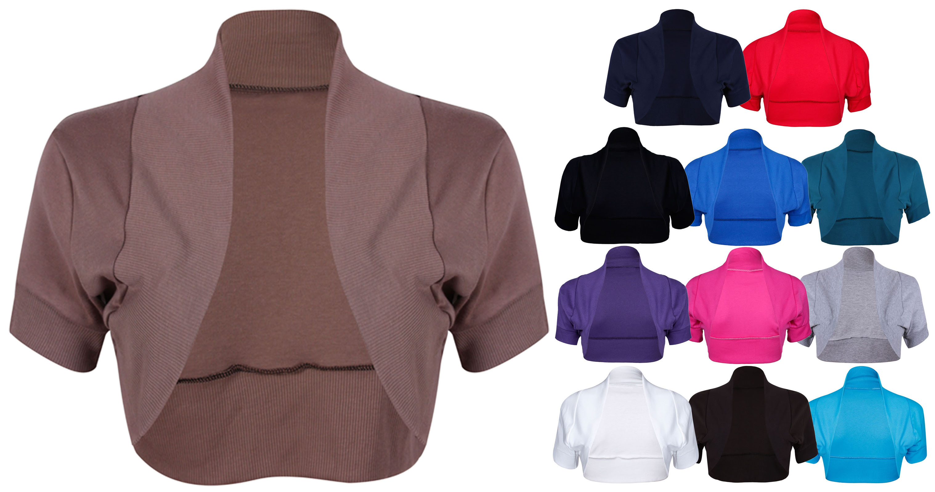 bol ro femme cardigan taille 44 54 manches courtes uni neuf ebay. Black Bedroom Furniture Sets. Home Design Ideas
