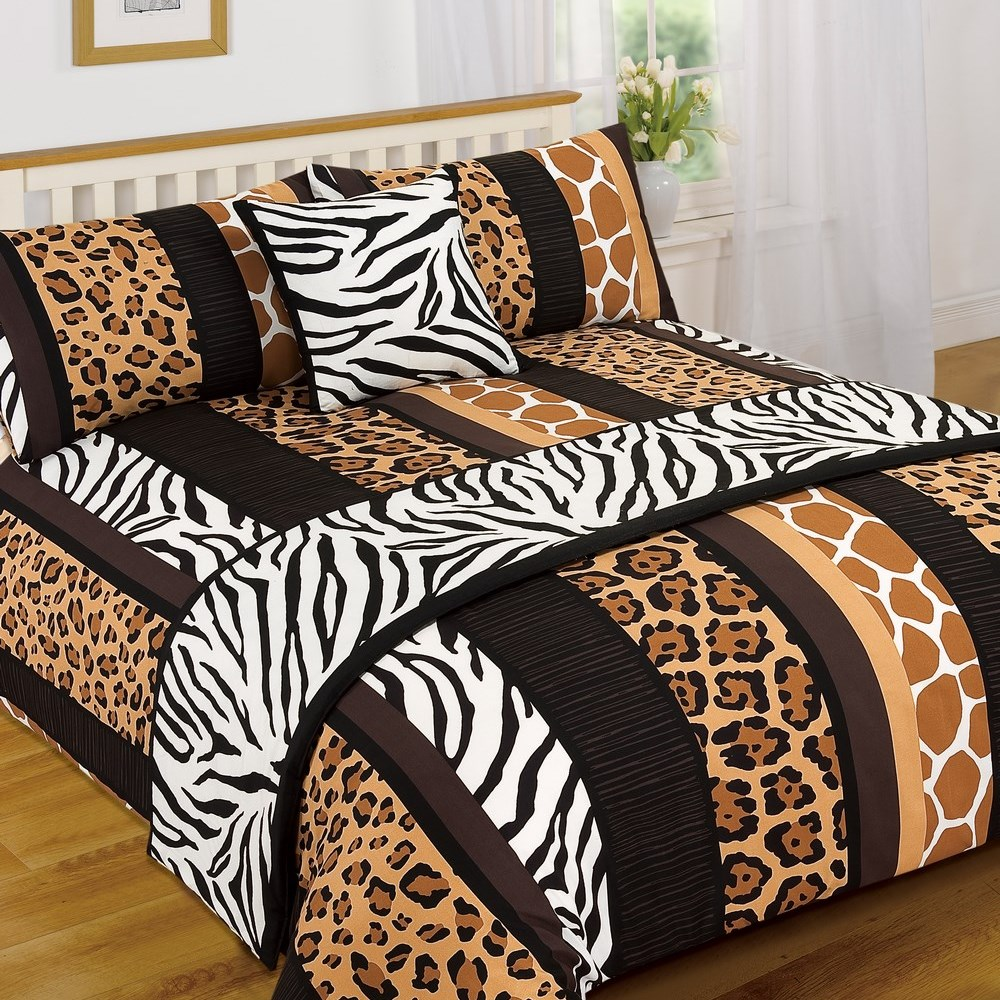 leoparden tiermuster serengeti bed in a bag bettbezug l ufer bettw sche set ebay. Black Bedroom Furniture Sets. Home Design Ideas