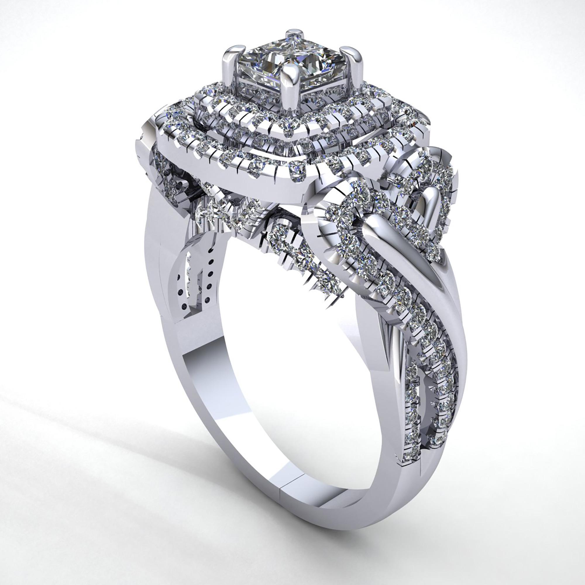 Natural-3-Quilates-Diamante-Talla-Princesa-Mujer-Doble-Halo-Anillo-de-Compromiso miniatura 10
