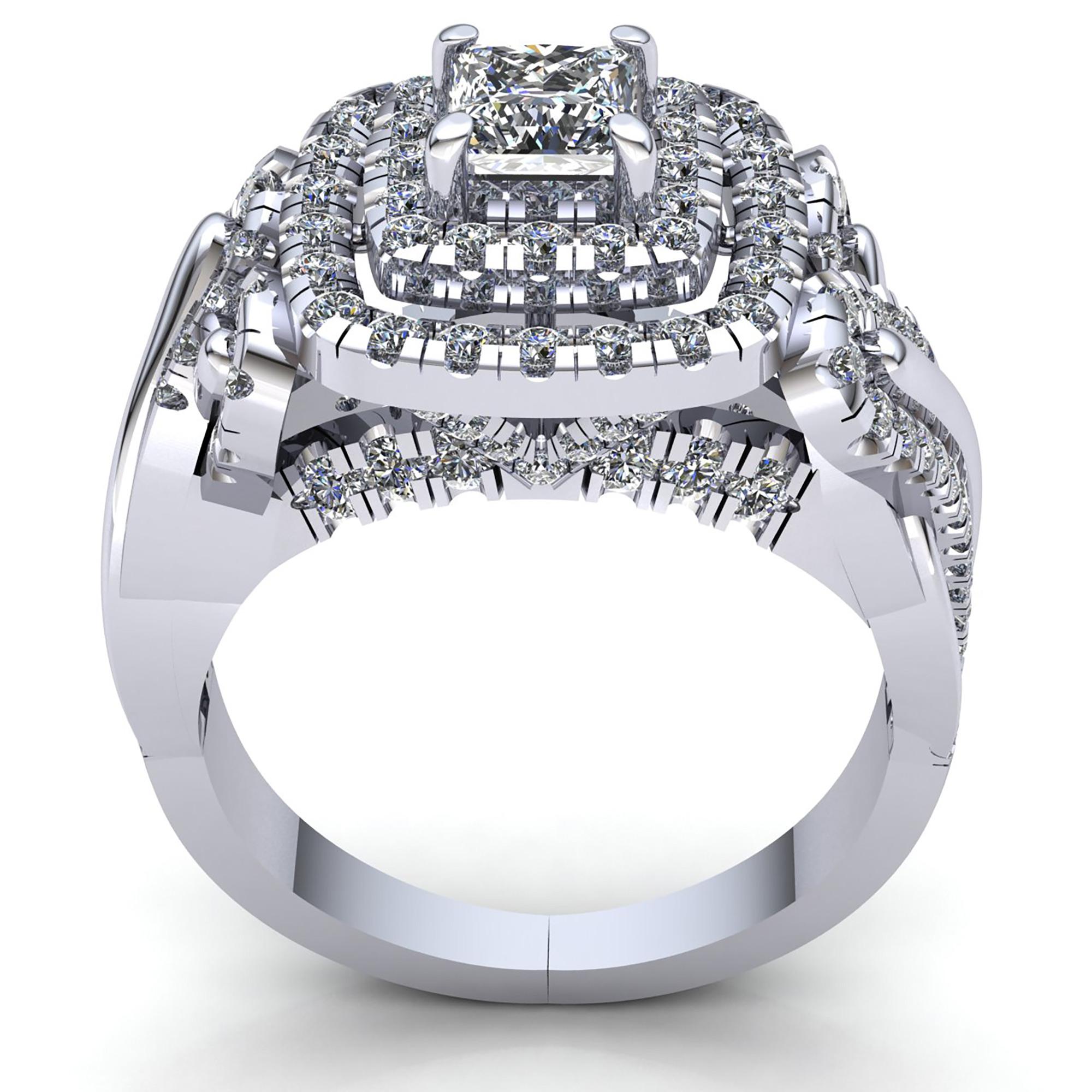 Natural-3-Quilates-Diamante-Talla-Princesa-Mujer-Doble-Halo-Anillo-de-Compromiso miniatura 11