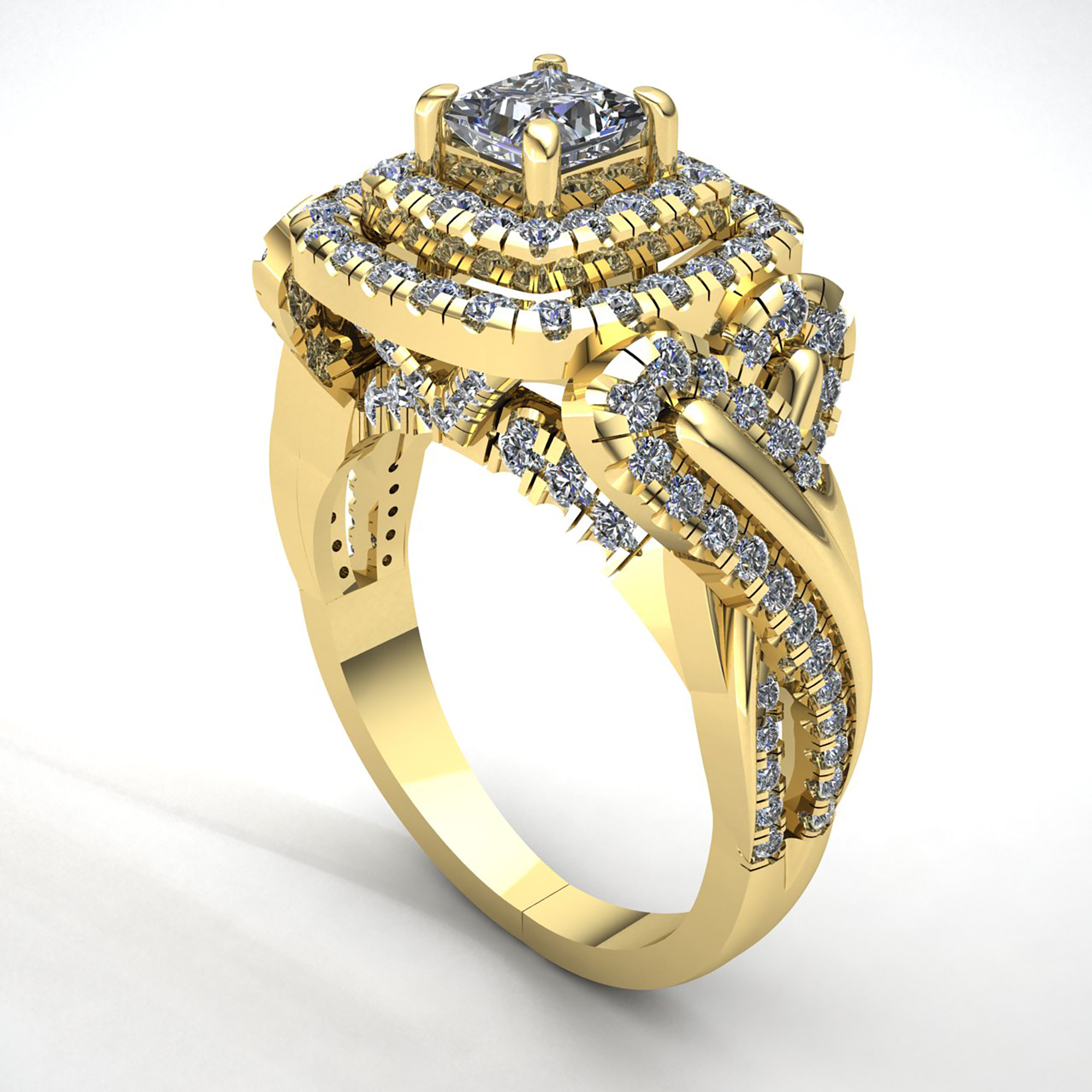 Natural-3-Quilates-Diamante-Talla-Princesa-Mujer-Doble-Halo-Anillo-de-Compromiso miniatura 13