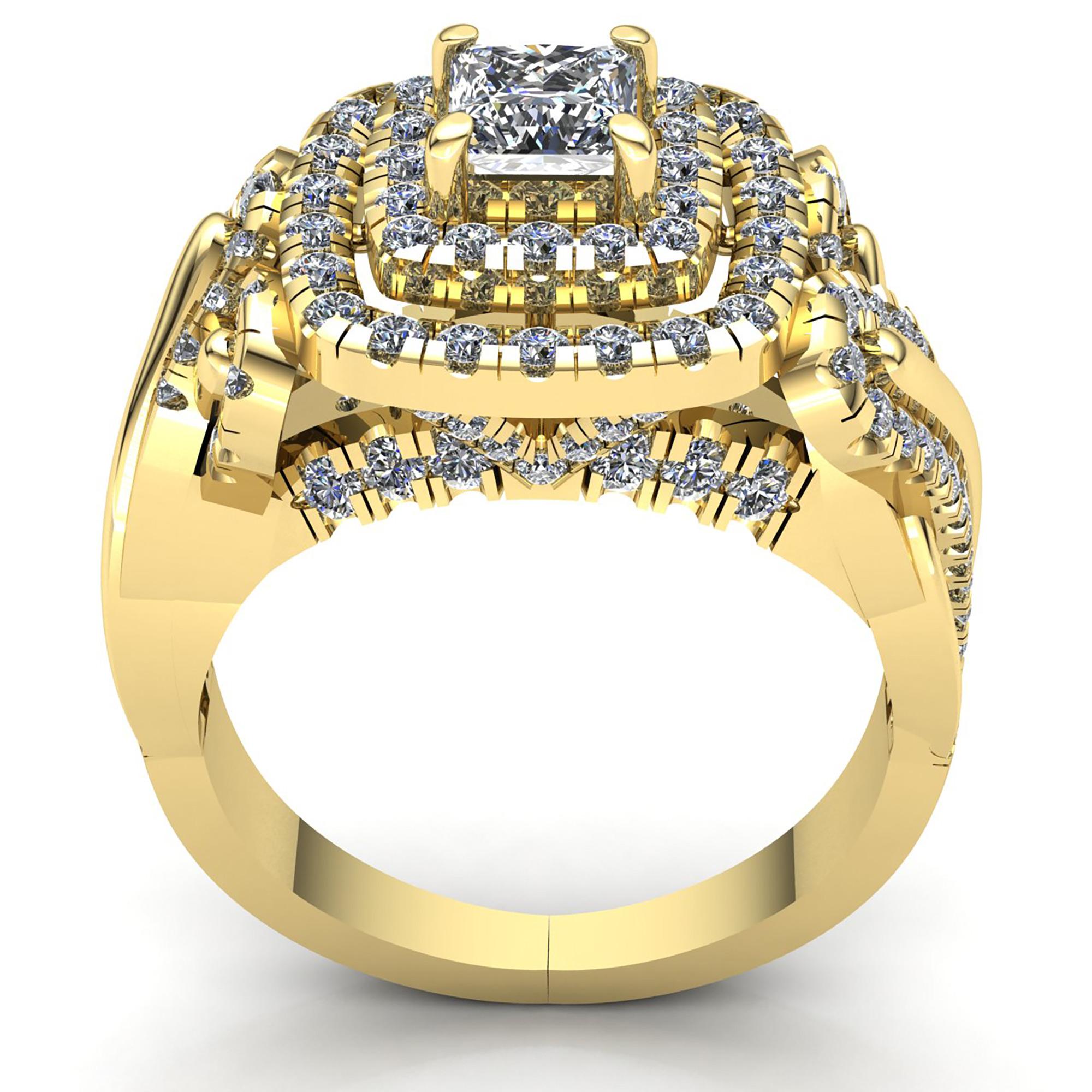 Natural-3-Quilates-Diamante-Talla-Princesa-Mujer-Doble-Halo-Anillo-de-Compromiso miniatura 14