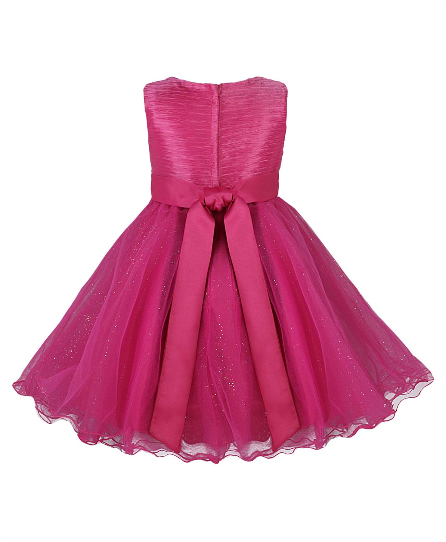 Girls Party Dresses Bow Detail Flower Girl Wedding Pageant