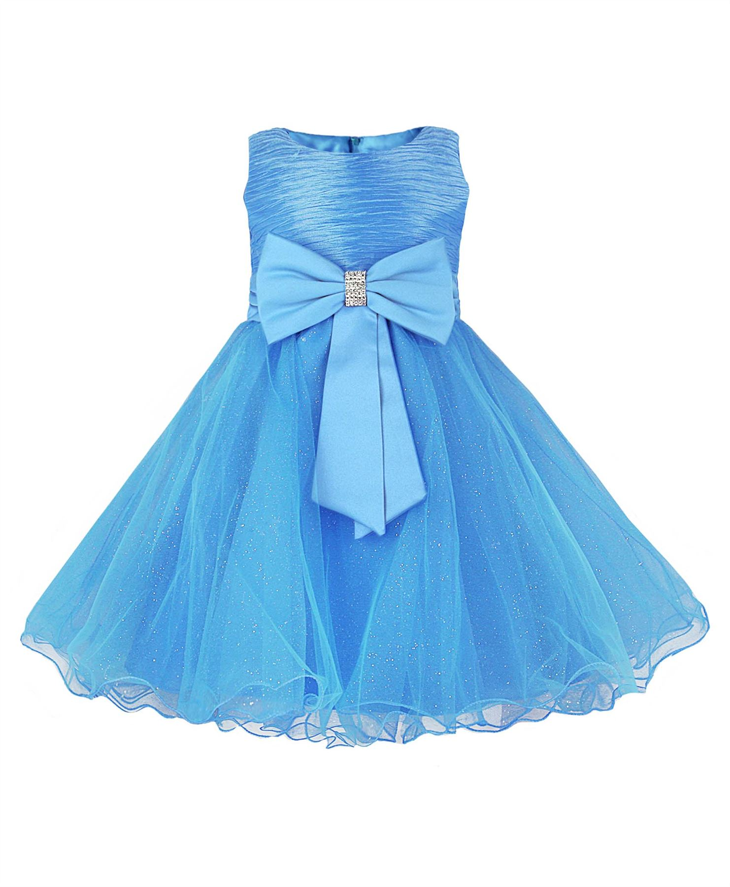 GIRLS PARTY DRESSES BOW DETAIL FLOWER GIRL WEDDING PAGEANT ...