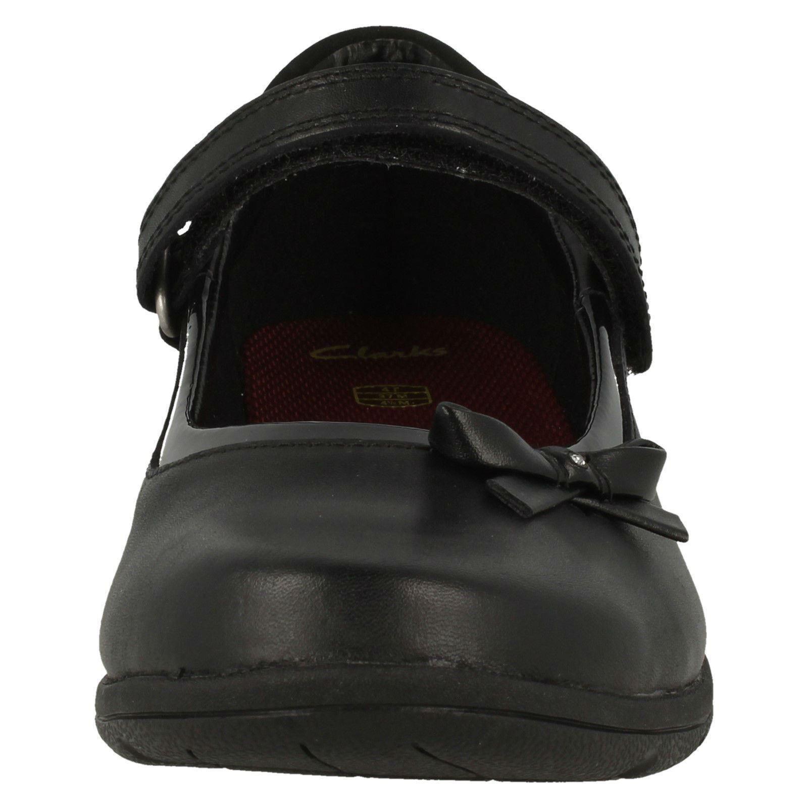 Clarks Girls Hook /& Loop Bow School Shoes Venture Star
