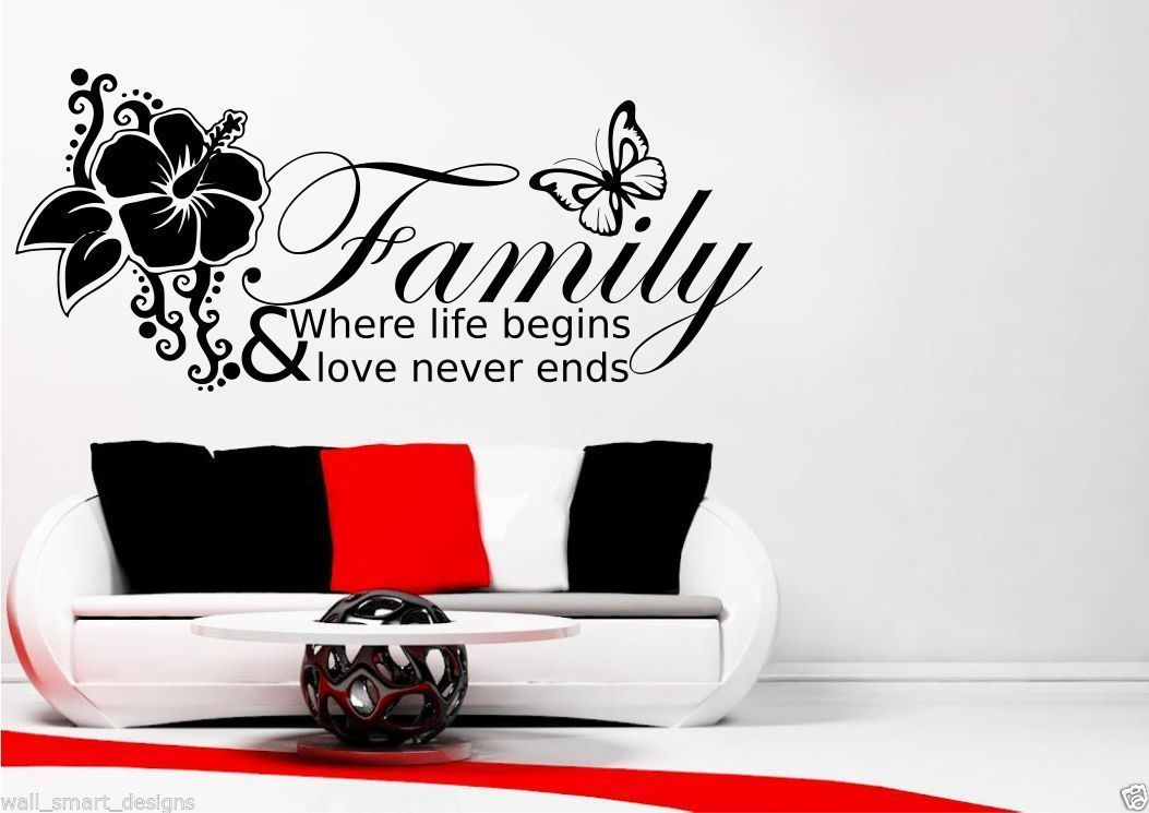Family where life begins butterflies | wall decal sticker  |Family Love Life