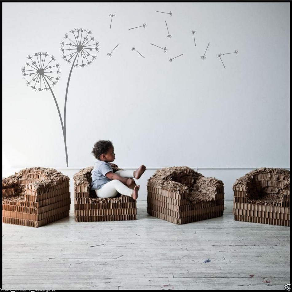 Dandelion clock seeds wall decal sticker transfer stencil for Dandelion mural