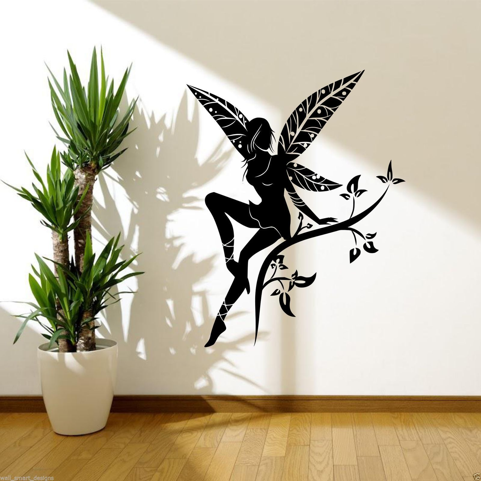 Wild flower fairy plant tree wings wall stickers decals - Pochoir mural fee ...