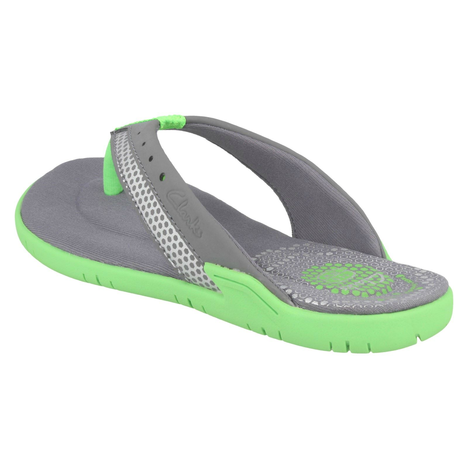 Clarks /'Bonza Fun/' Boys Grey Synthetic Flip Flops