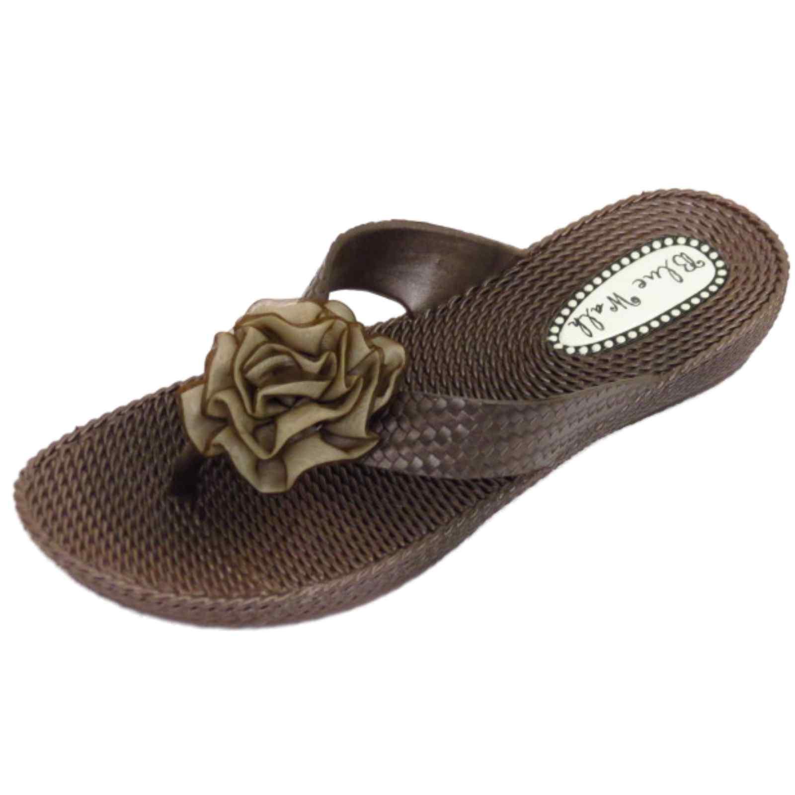 Mujer-Plano-Marron-Con-Tira-Sandalias-Chanclas-Playa-Sin-Cordones-flor-zapatos
