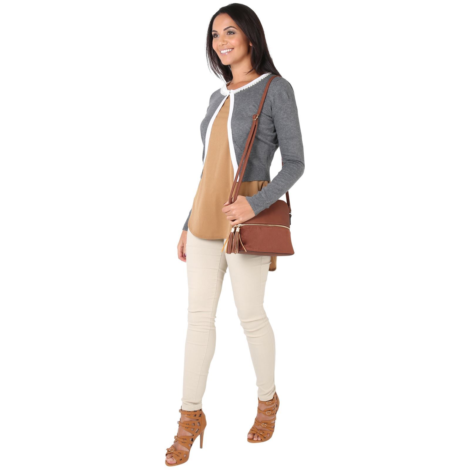 Donna-Bolero-Coprispalle-Seta-Morbido-Cardigan-Manica-Lunga-Maglia-Corto-Lavoro miniatura 11
