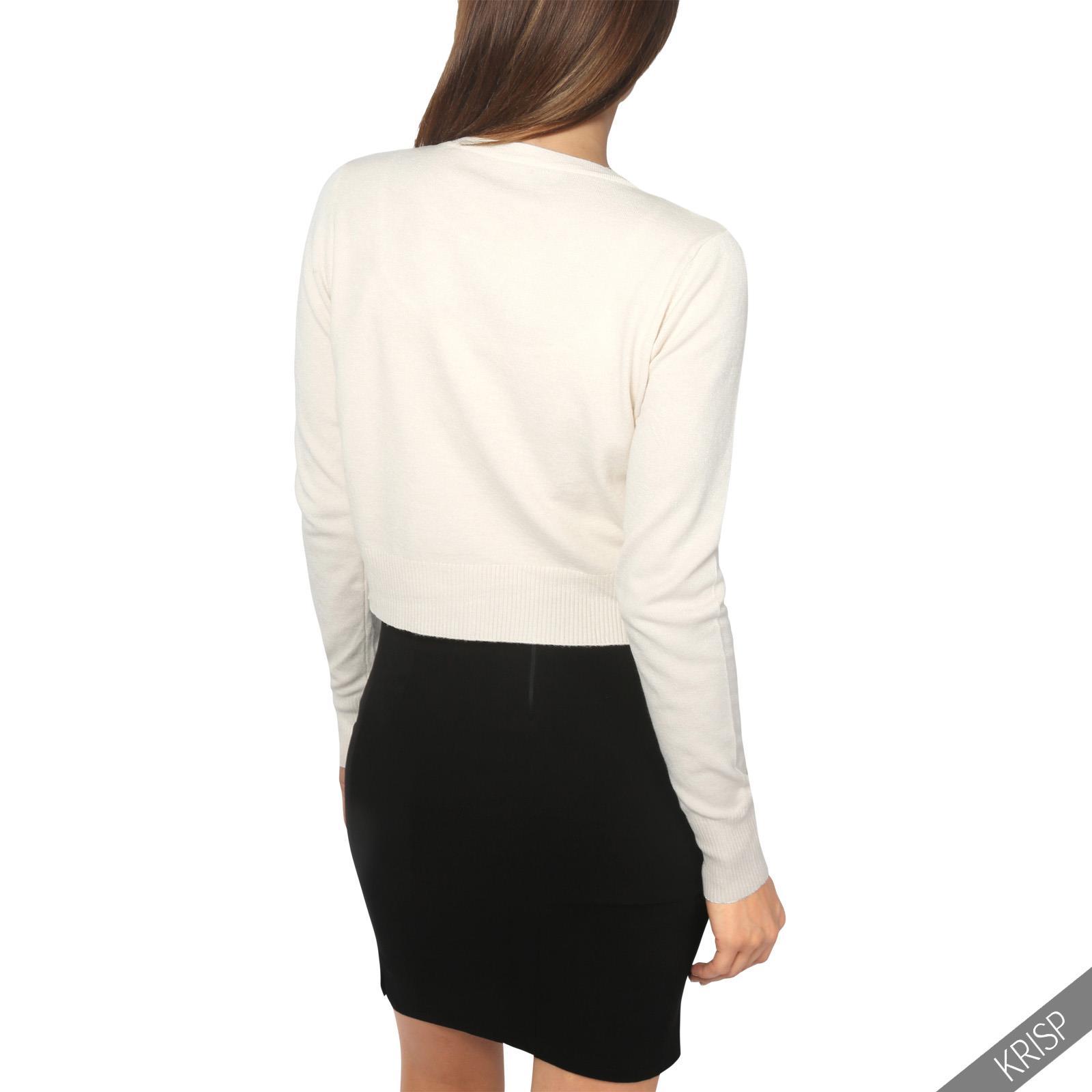 Donna-Bolero-Coprispalle-Seta-Morbido-Cardigan-Manica-Lunga-Maglia-Corto-Lavoro miniatura 25