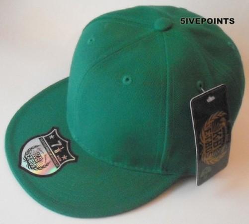 NEW PLAIN FLAT PEAK FITTED HAT CAP BLACK, GREEN, NAVY | eBay