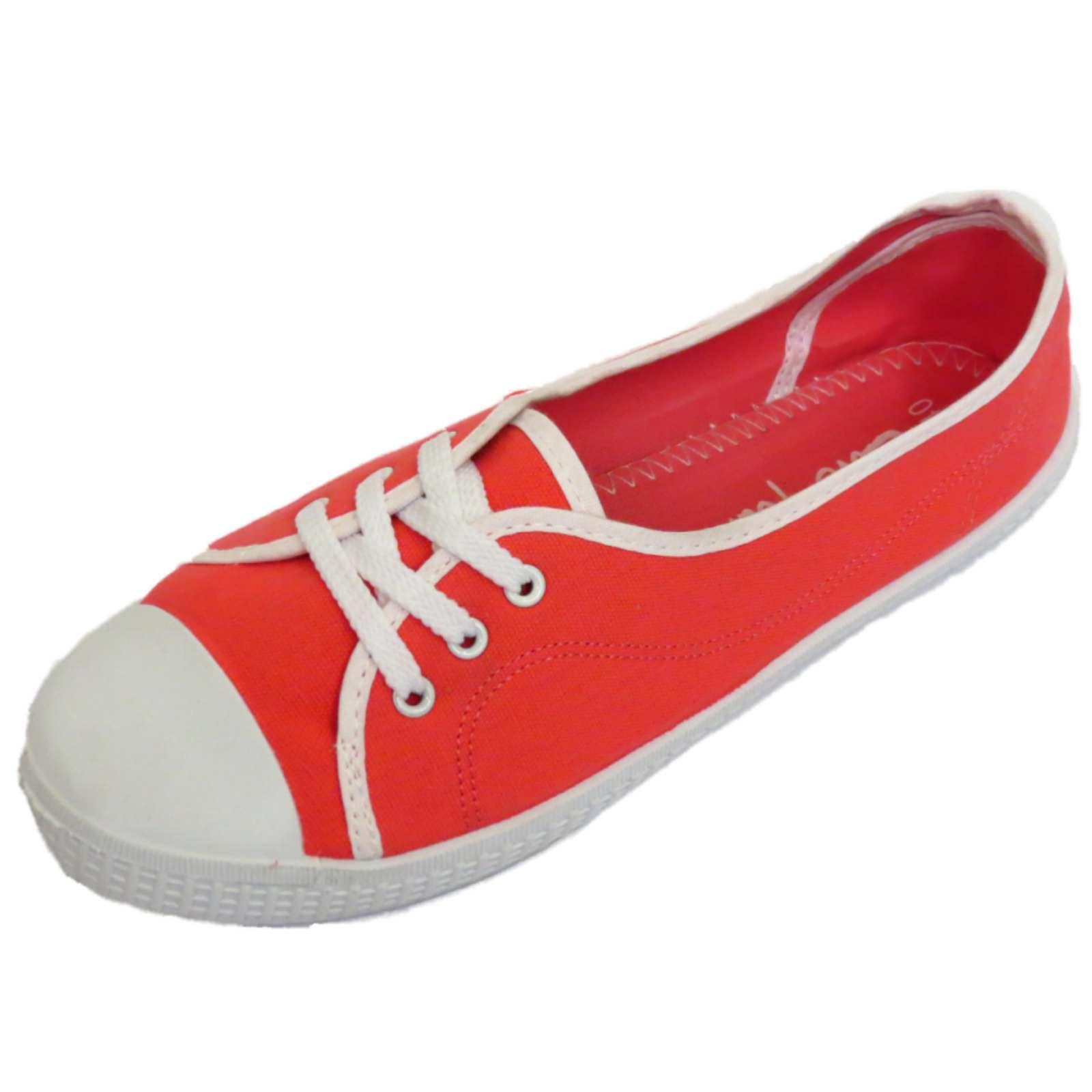 Damen rote Slipper Flache Leinen Turnschuhe Pumps Freizeitschuhe Größen 3-9