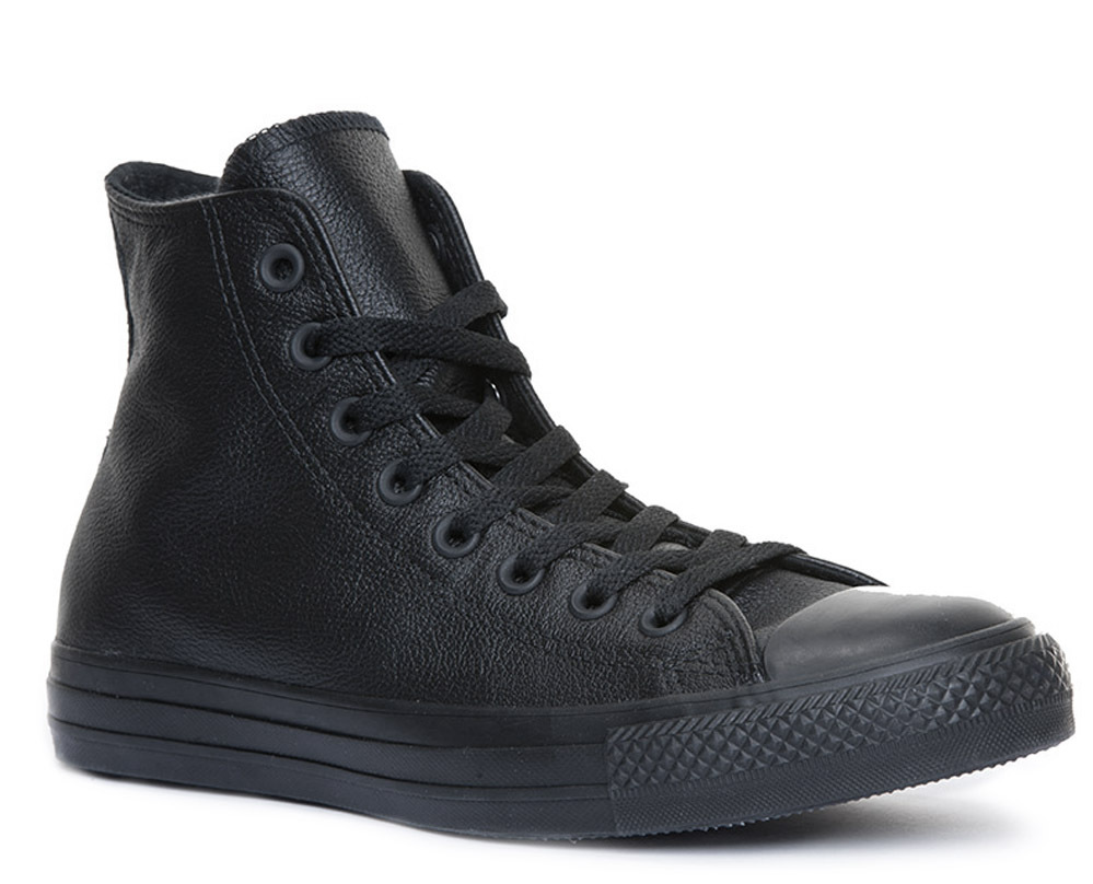 Details about Converse all star chuck tailor high sneakers black leather mono size uk 3 - 12- show original title
