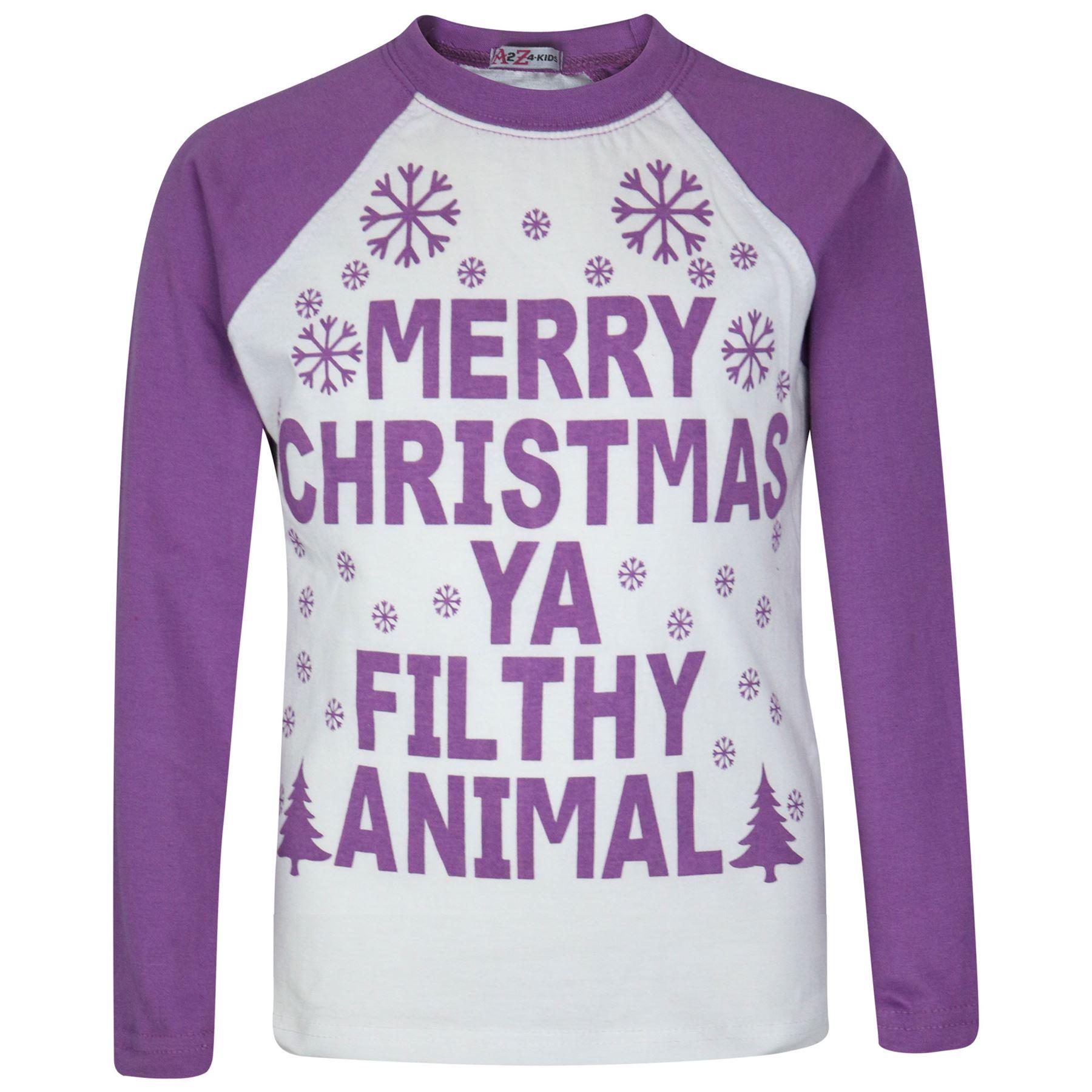 22f0ef9881476 Enfants Filles Pyjamas Designer Ya Filthy Animal Lilas Noël Âge 2-13 ...