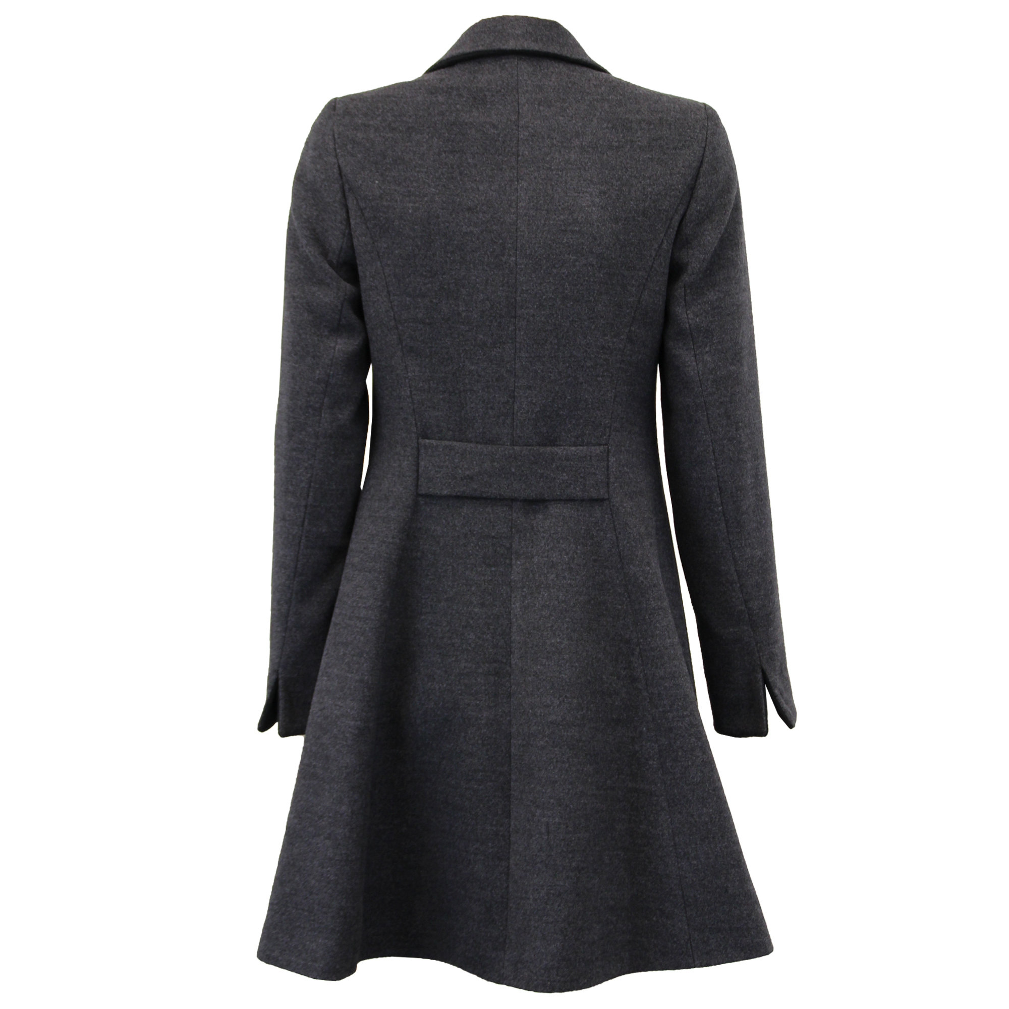 Ladies Coat Womens Jacket Wool Look Military Long Button Warm ...