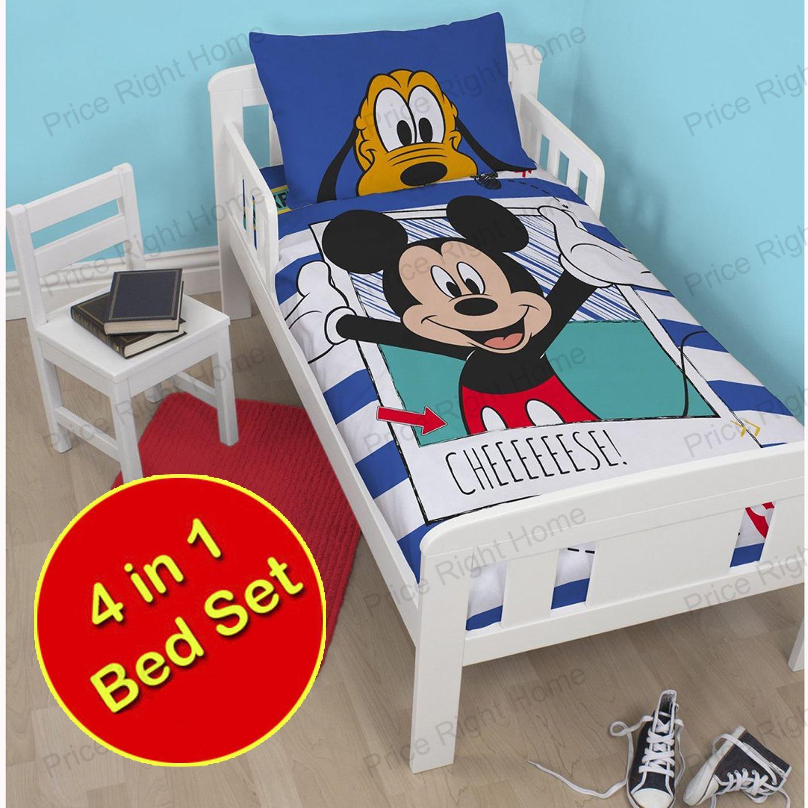 Disney-amp-PERSONNAGE-4-En-1-bebe-LITERIE-Bouquets-couverture-OREILLER-couvres