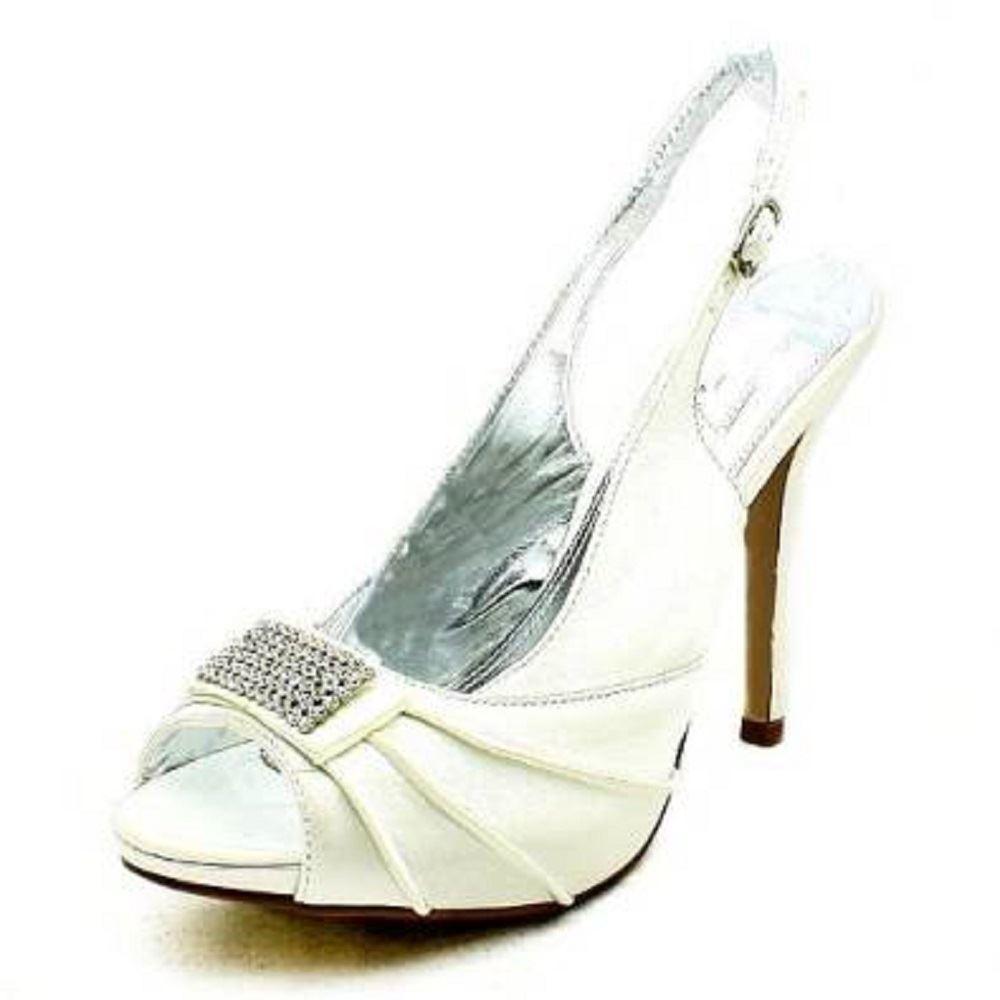 da donna in raso tacco alto cinturino scarpe da ballo con strass avanti