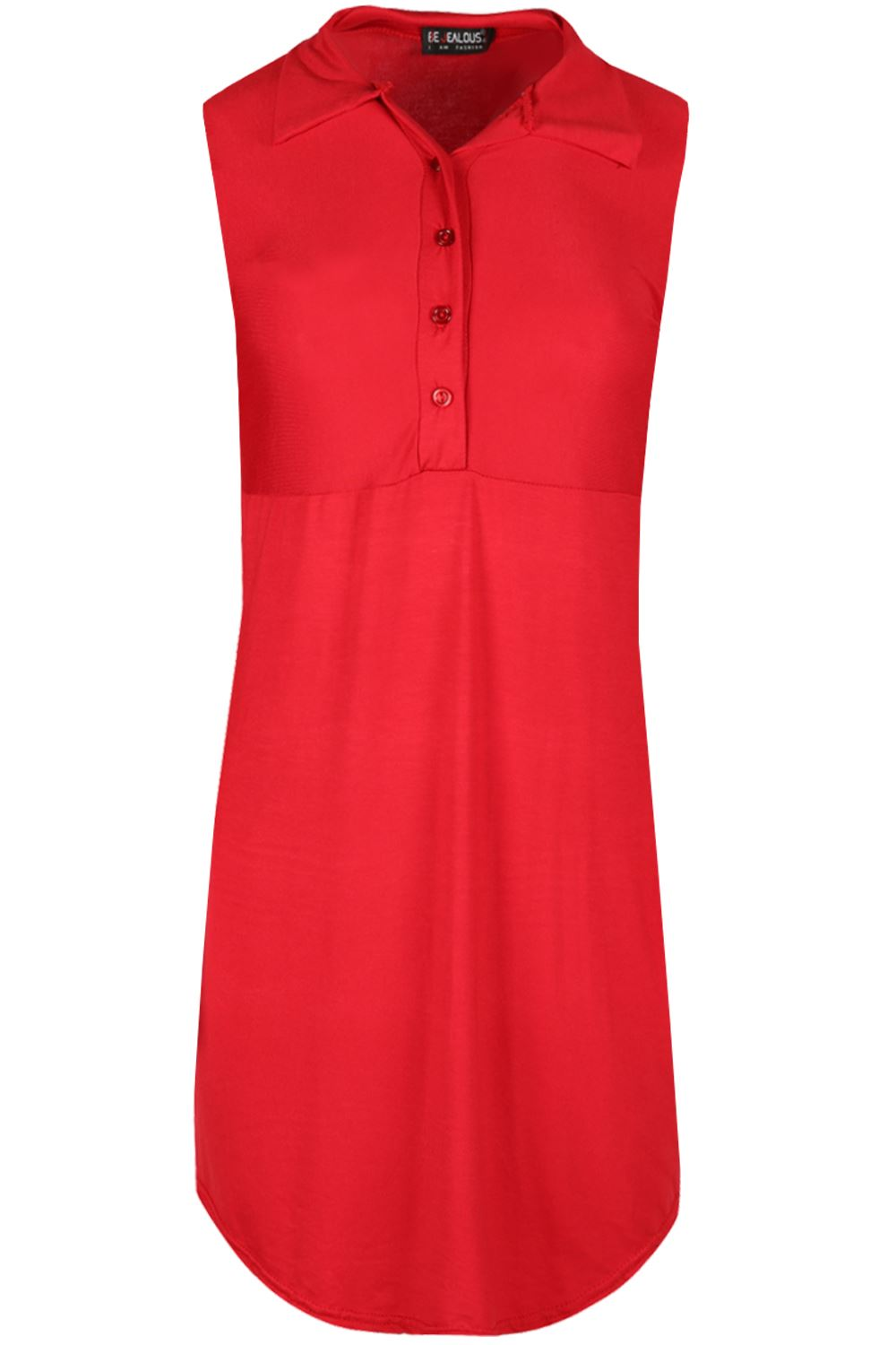 Womens sleeveless collared curved hem front button ladies for Sleeveless dress shirt womens