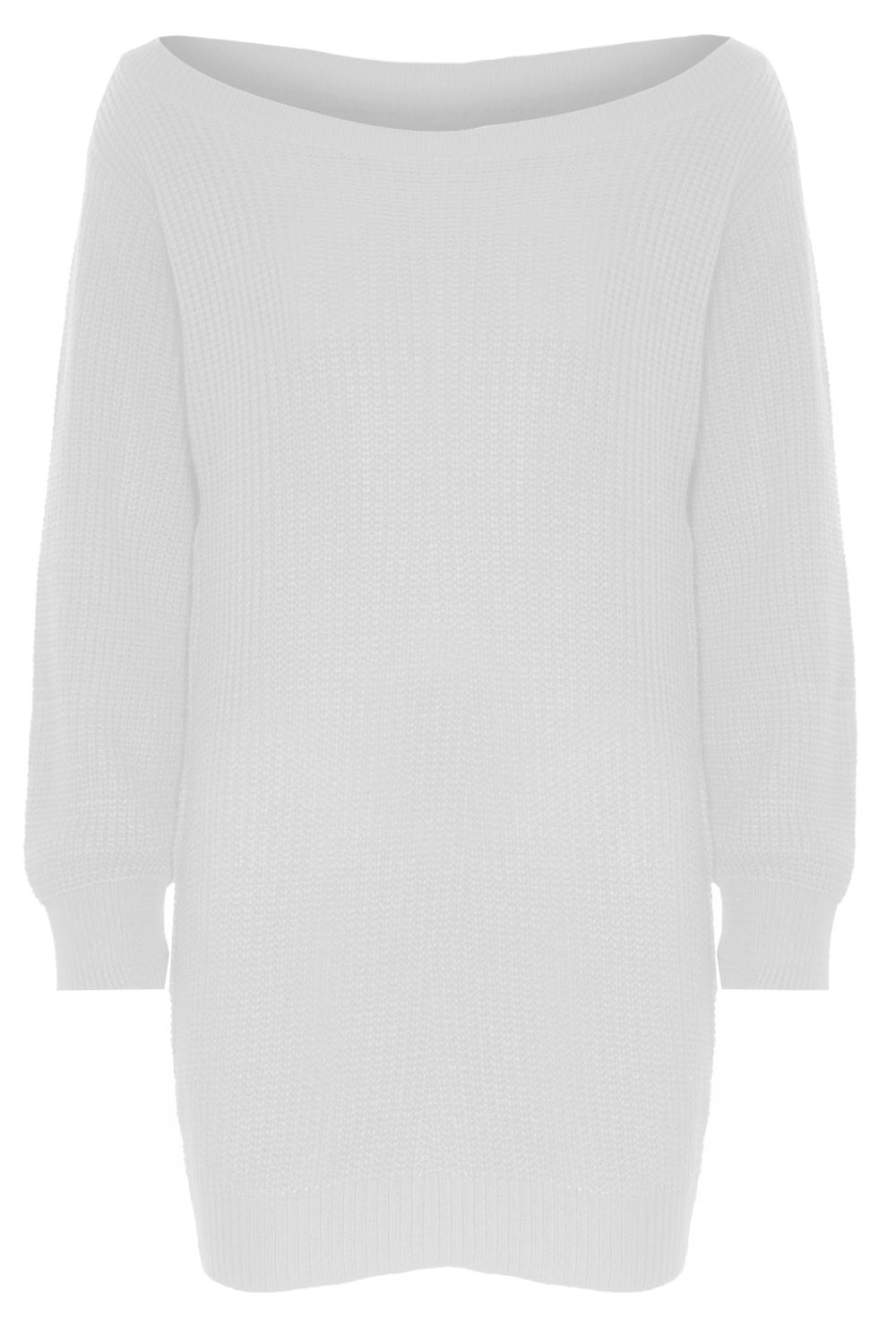 Ladies Womens Off Shoulder Chunky Knit Oversized Baggy Tunic ...