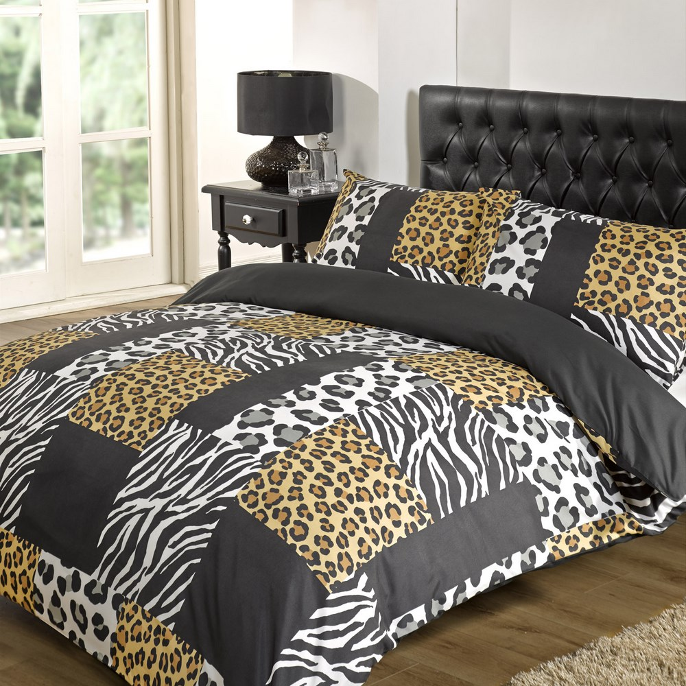 Dreamscene Kruger Zebra Leopard Duvet Cover Black White Animal Print  Bedding Set