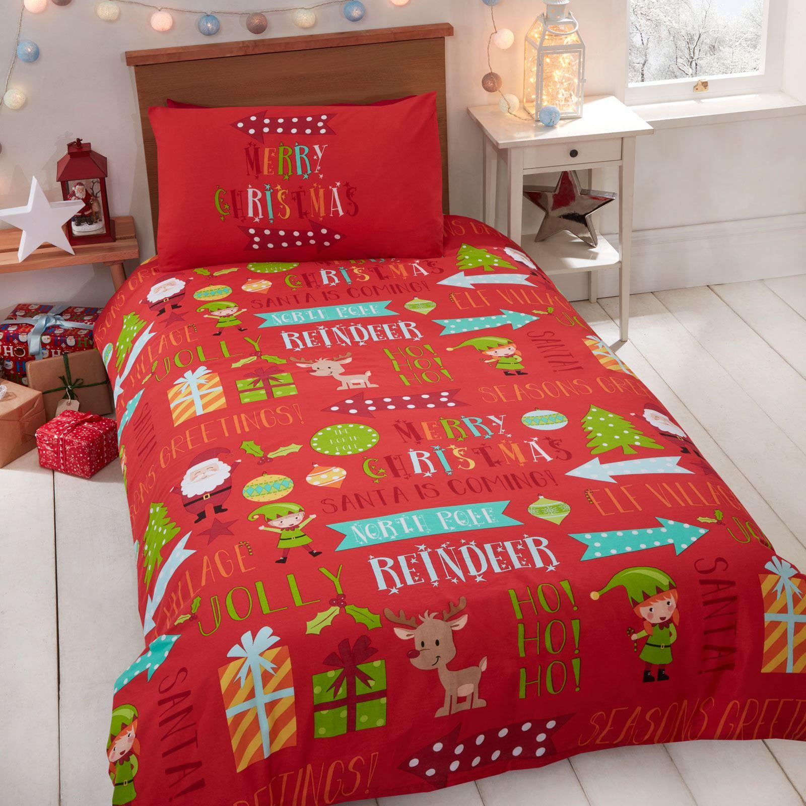 Indexbild 15 - Kinder Weihnachten Bettbezug Sets - Junior Einzel Doppel King - Elf Emoji Grinch