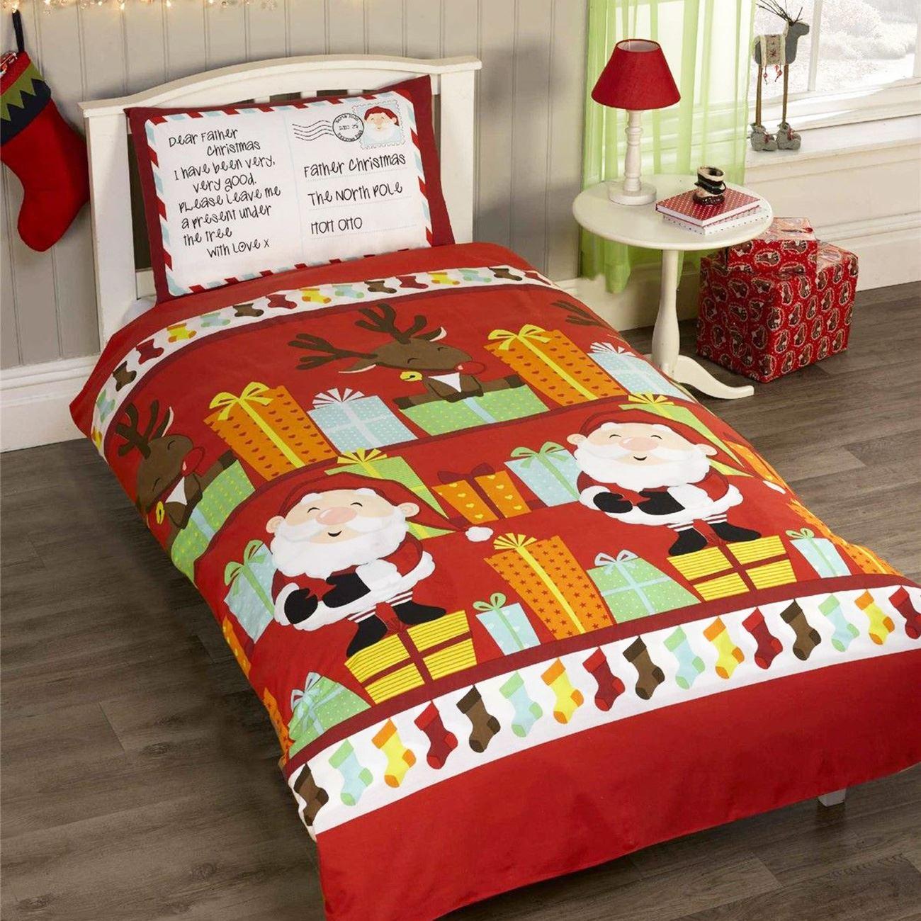 Indexbild 73 - Kinder Weihnachten Bettbezug Sets - Junior Einzel Doppel King - Elf Emoji Grinch