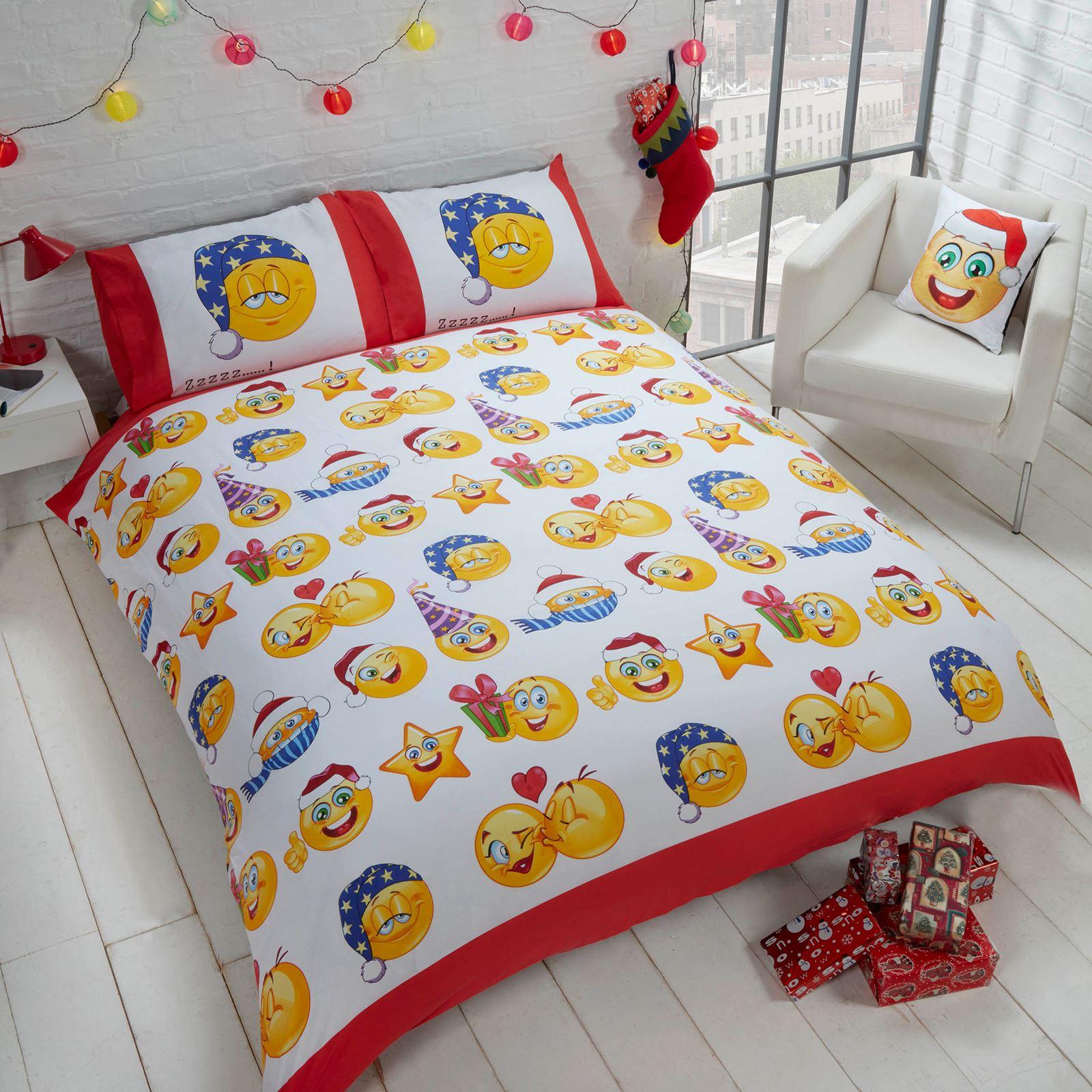 Indexbild 30 - Kinder Weihnachten Bettbezug Sets - Junior Einzel Doppel King - Elf Emoji Grinch