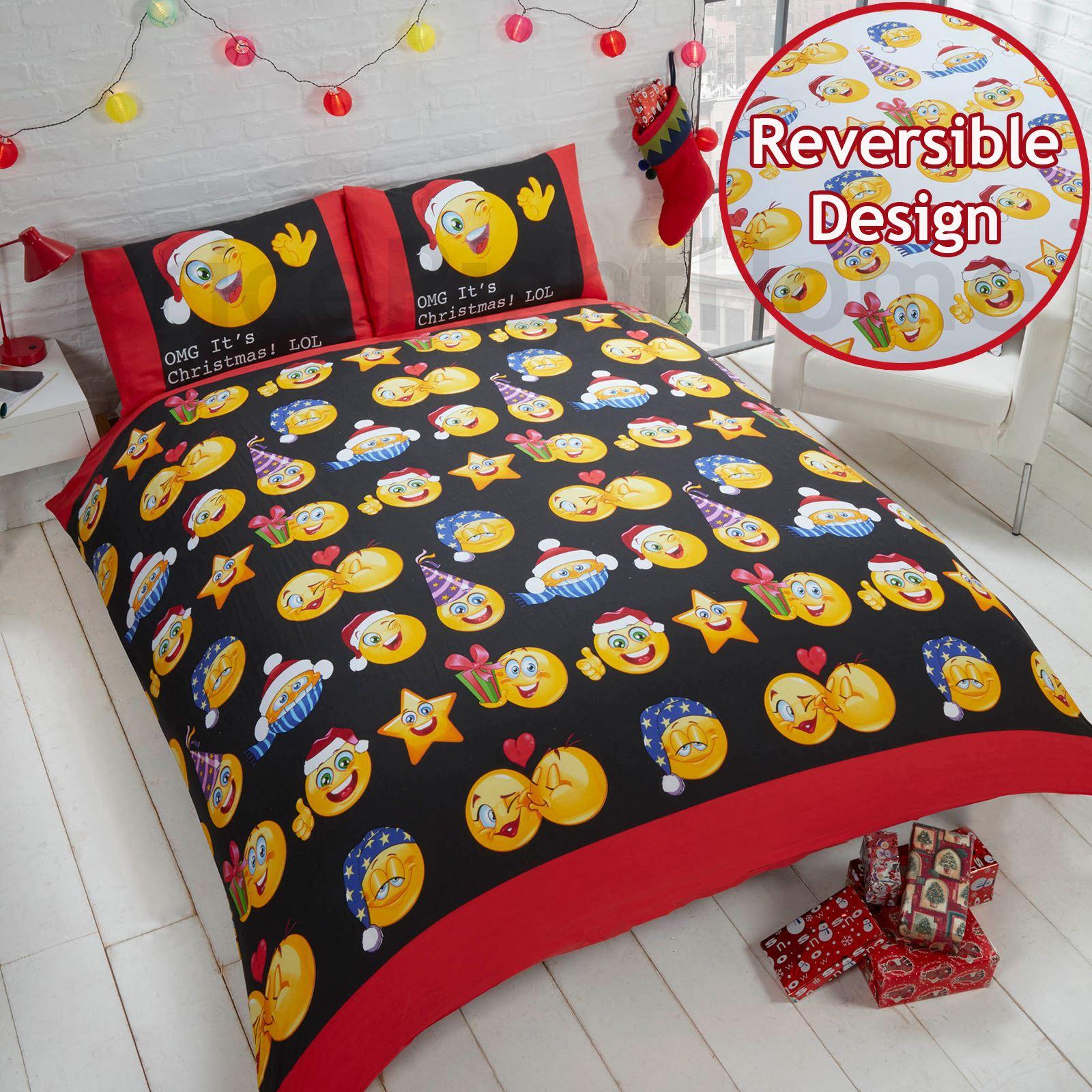 Indexbild 31 - Kinder Weihnachten Bettbezug Sets - Junior Einzel Doppel King - Elf Emoji Grinch
