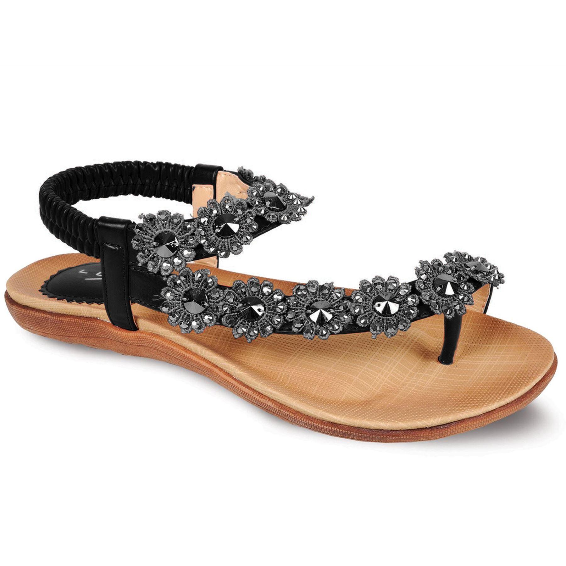Fantasia Boutique Damen Diamant Blumen Sandalen Damen Bequem Freizeit Sommer Festgeschnallt Schuhe - Schwarz, 38