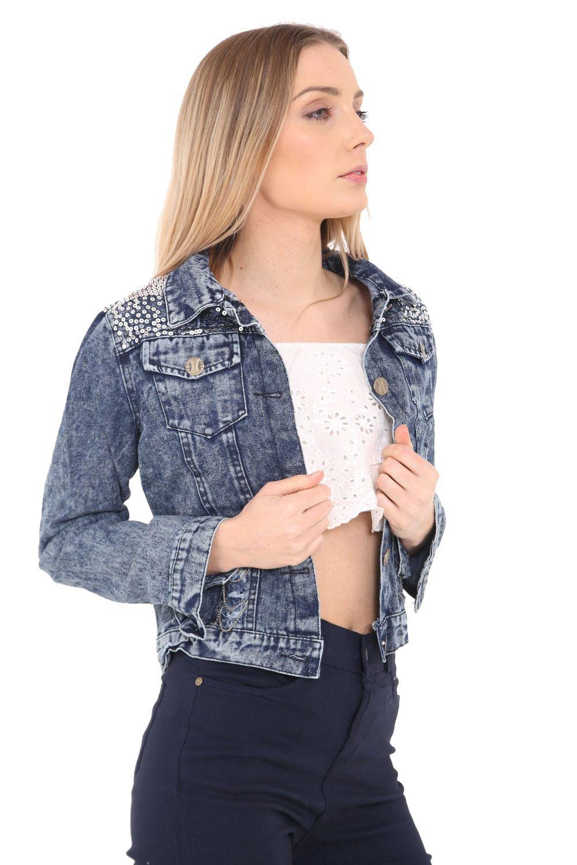 Mujer-Lentejuelas-HOMBROS-vintage-denim-cazadora-azul-Jeans-Ropa-De-Abrigo