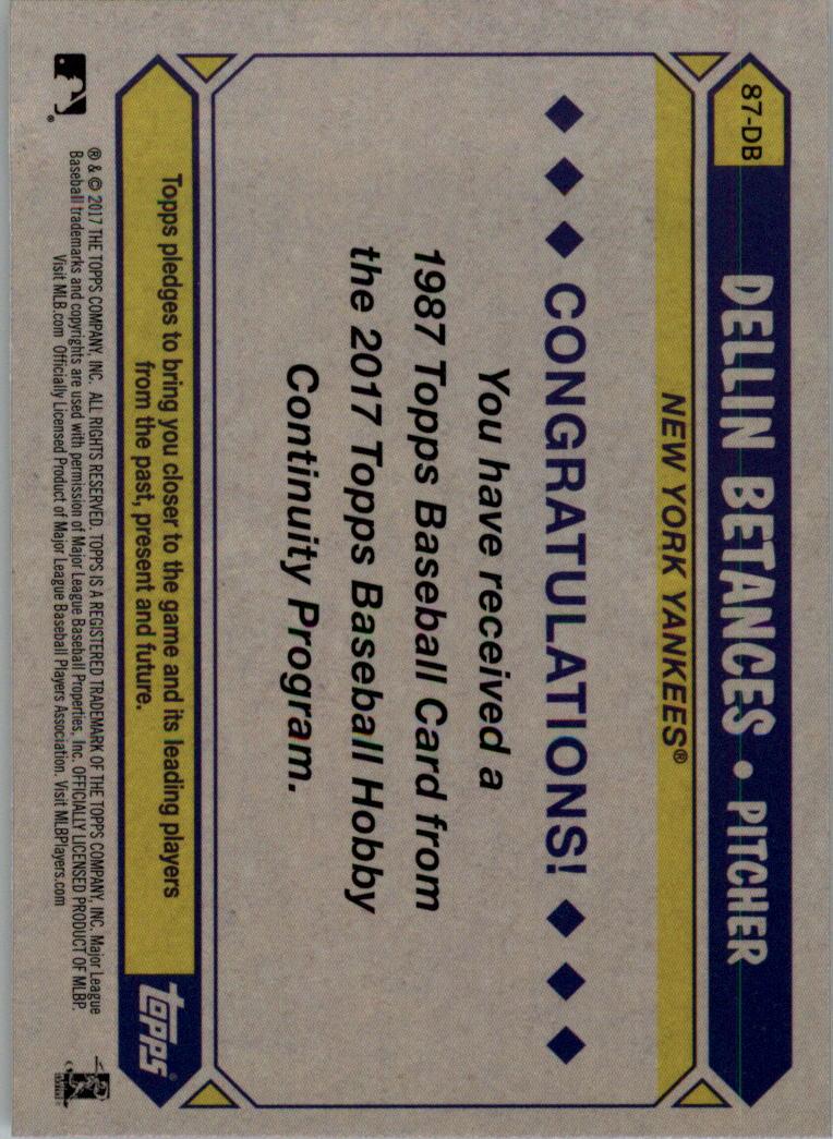 2017-Topps-039-87-Topps-Plata-Paquete-Cromo-Beisbol-Tarjeta-Recoger miniatura 15