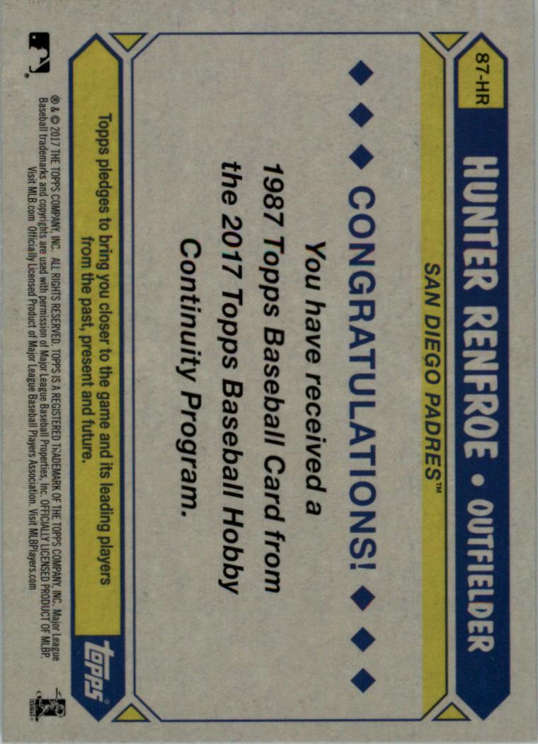 2017-Topps-039-87-Topps-Plata-Paquete-Cromo-Beisbol-Tarjeta-Recoger miniatura 24