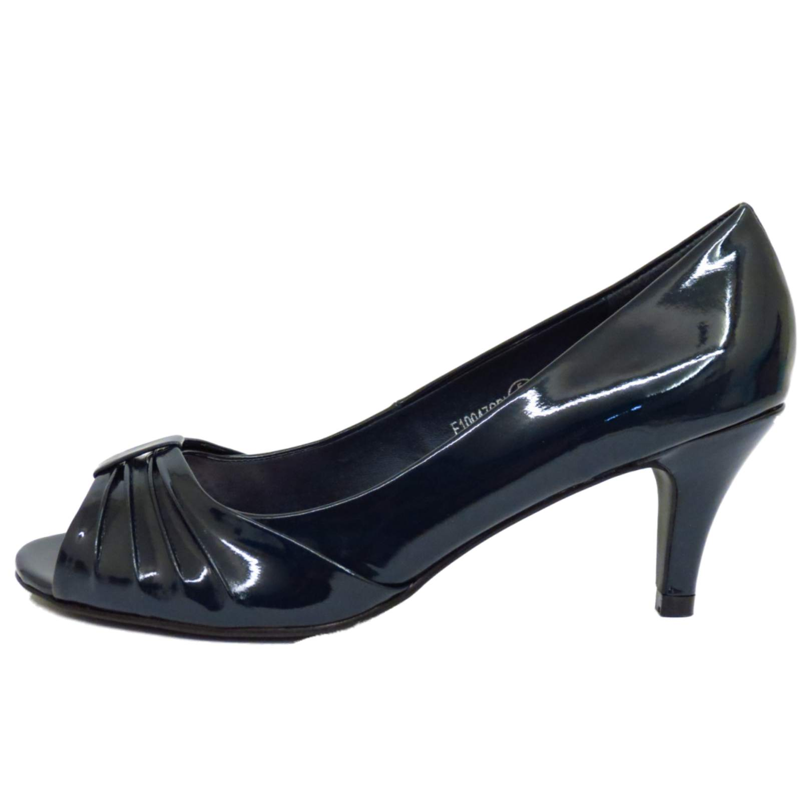 navy patent peep toe slip on mid heel smart court
