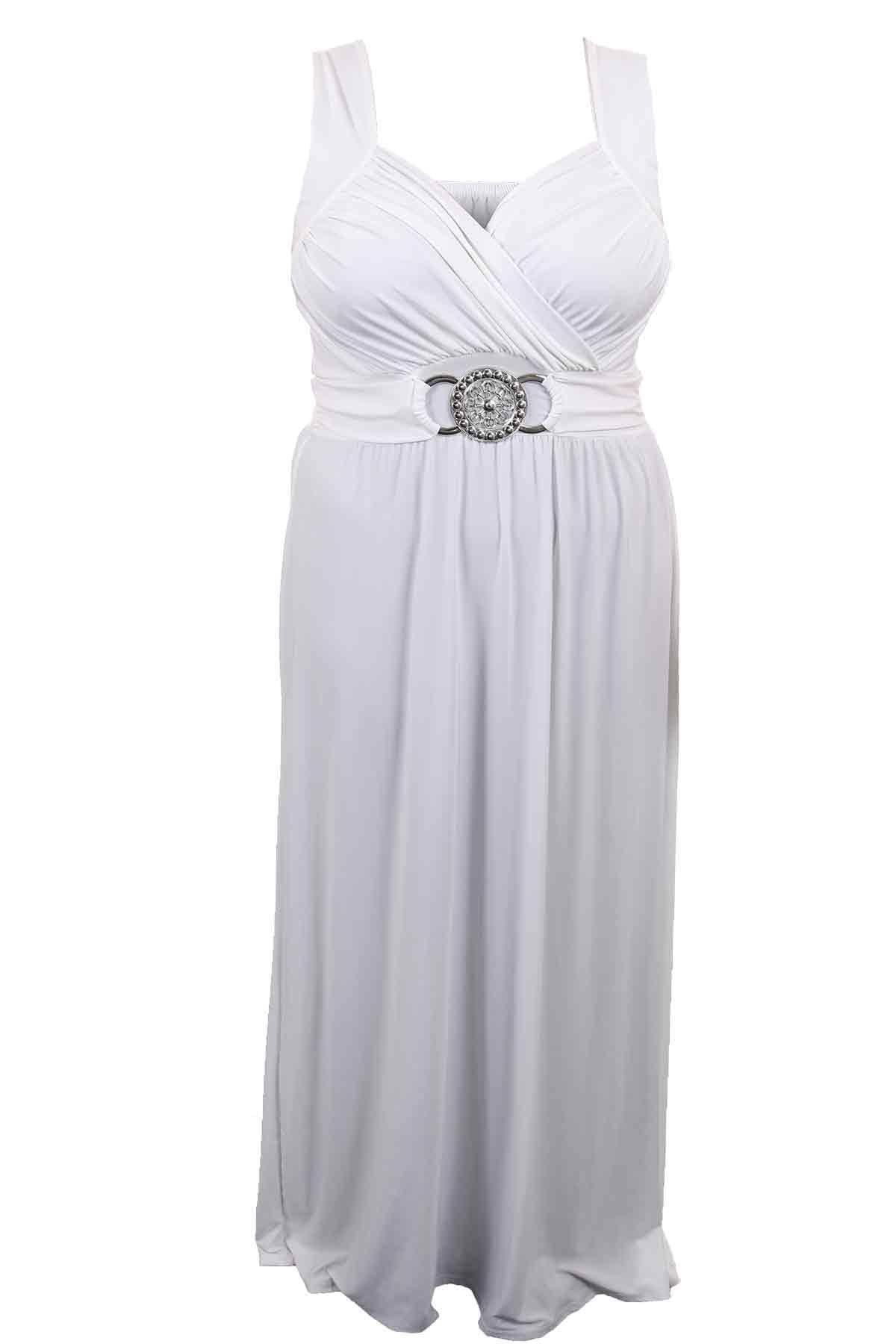 Ladies Buckle Waisted Plus Size Tie Back Evening Long Women\'s Maxi ...