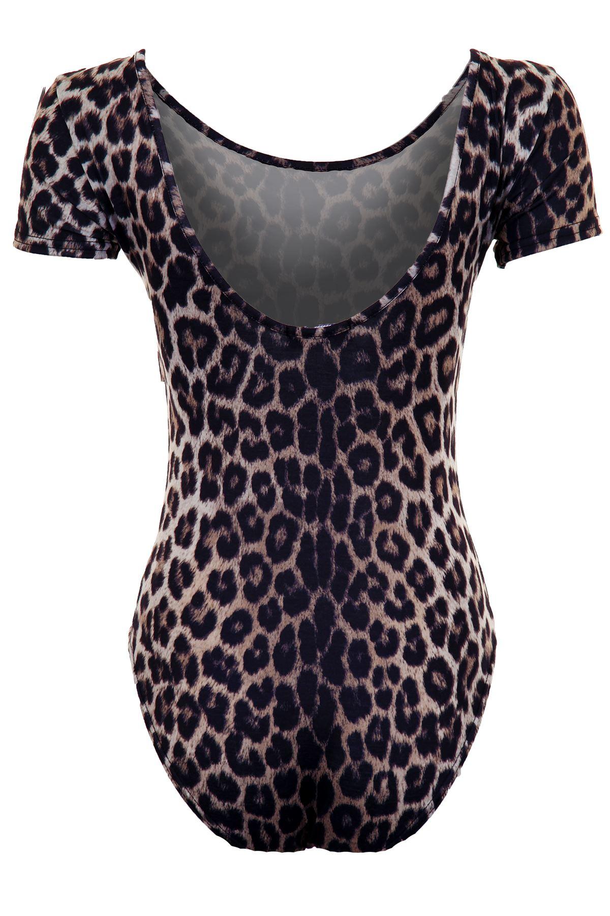 Damen Kurzärmlig einfarbig Tiger Leopard Stretch Damen Turnanzug Body Top